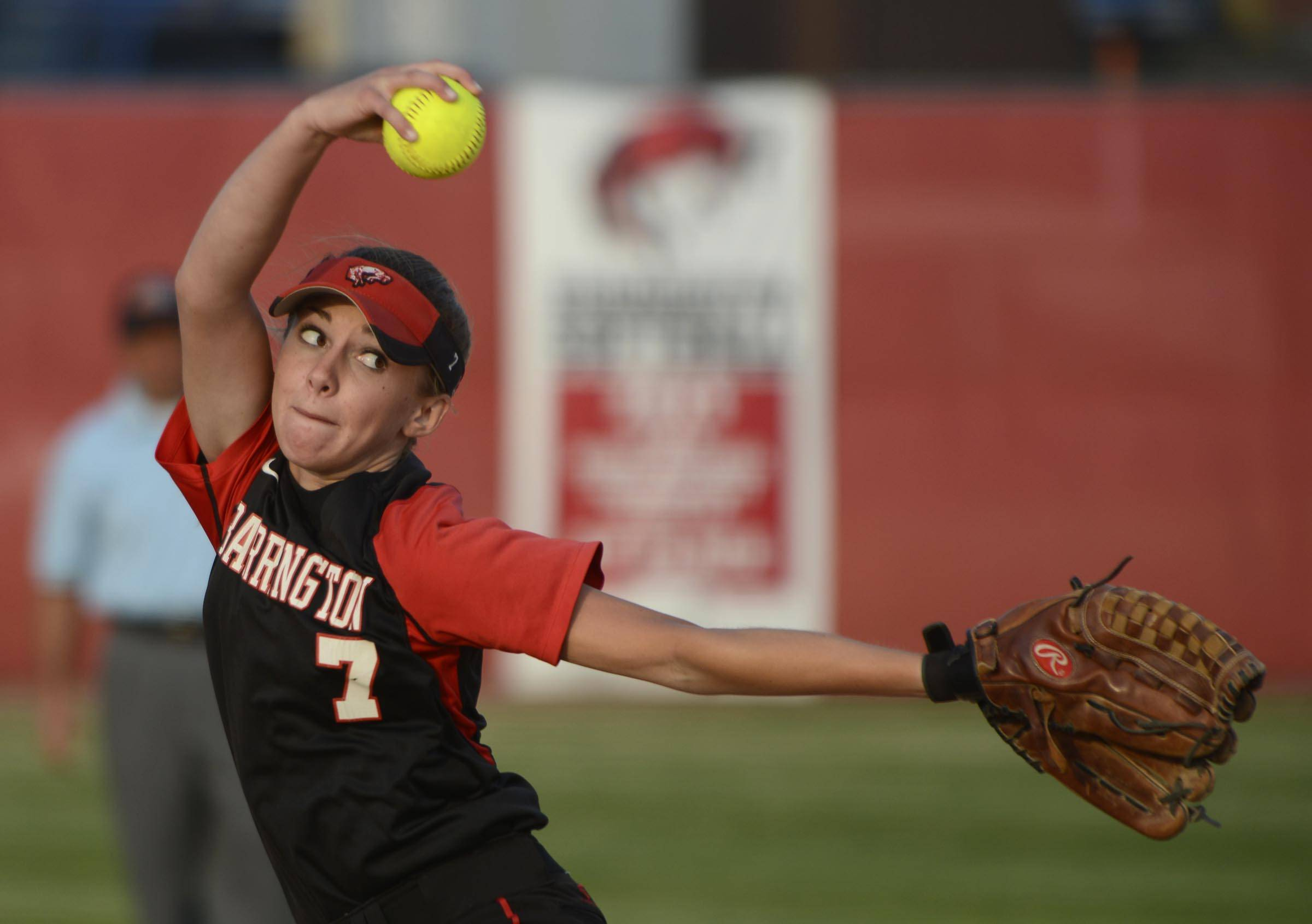 Barrington's Keenan Dolezal delivers against Warren in the Class 4A Barrington supersectional Monday.