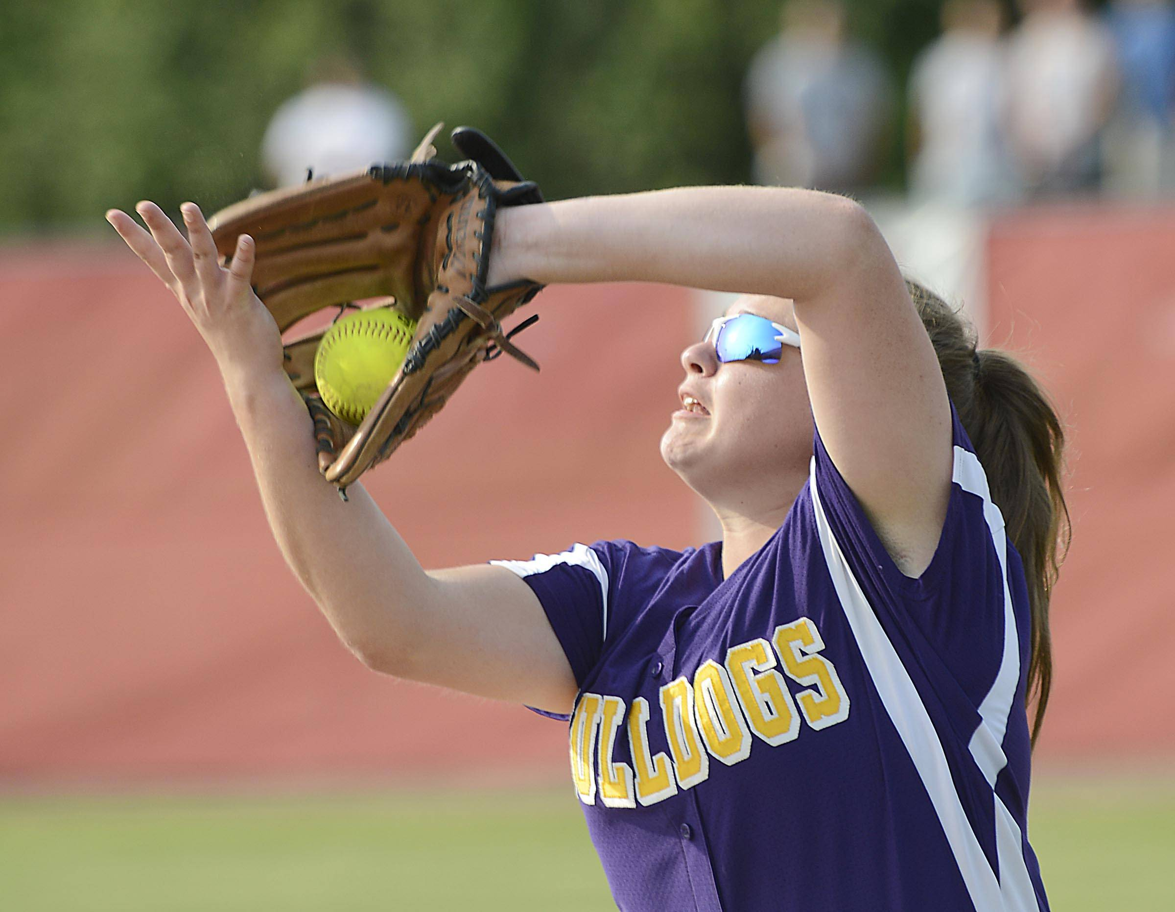 Wauconda's Jena Heck makes a two-handed catch of a pop fly by Sterling's Erin Stroup in the fifth inning in the Class 3A Barrington supersectional Monday.