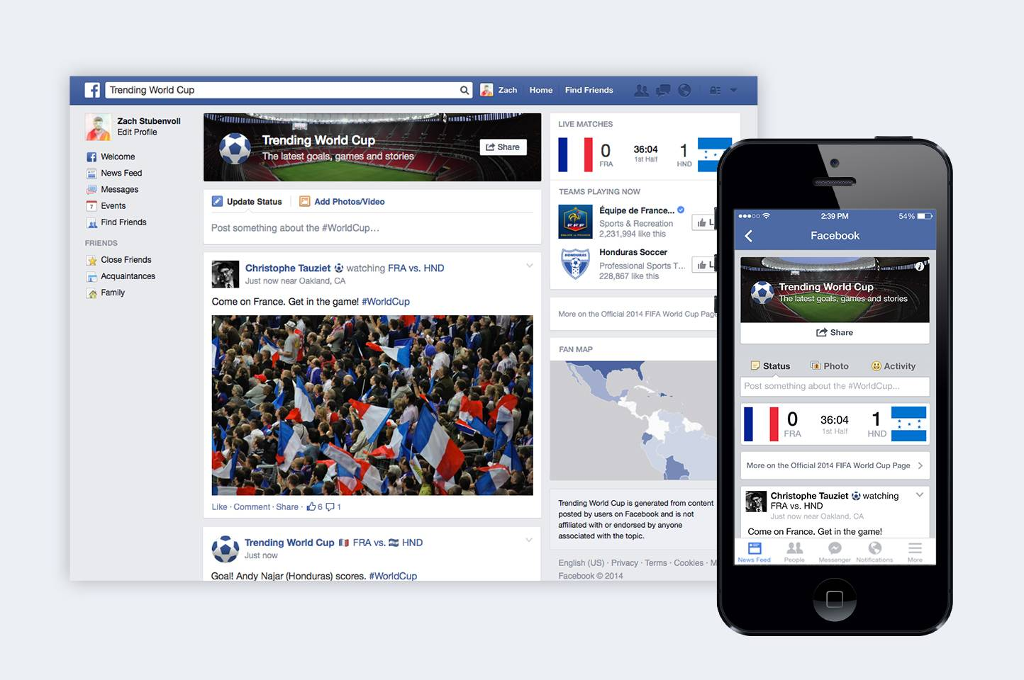 "Facebook's ""Trending World Cup"" special feature. Available on the Web as well as mobile devices, the hub will include the latest scores, game highlights as well as a feed with tournament-related posts from friends, players and teams."