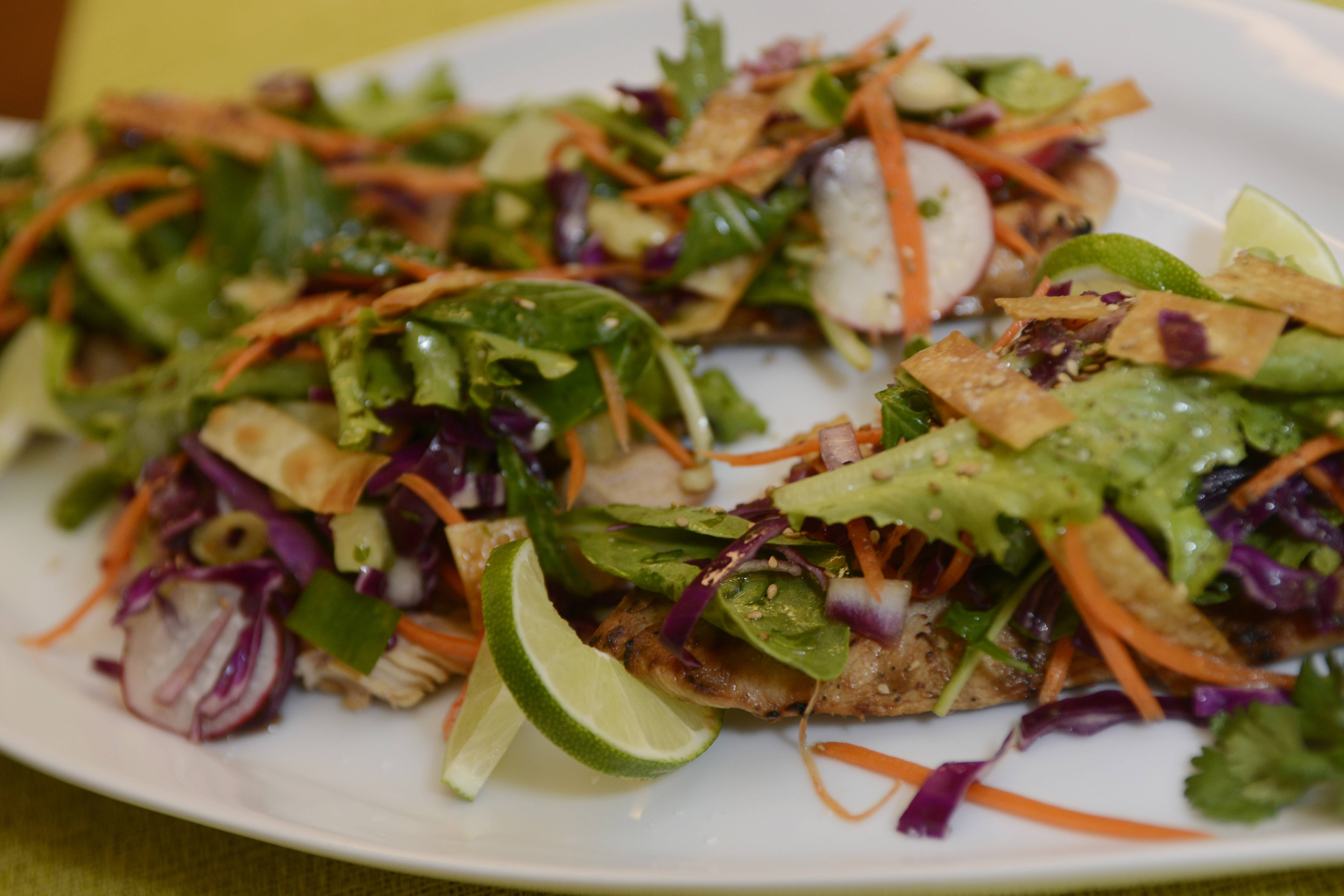 Sue Cortesi grills miso-marinated chicken and tops it with an Asian-influenced salad.
