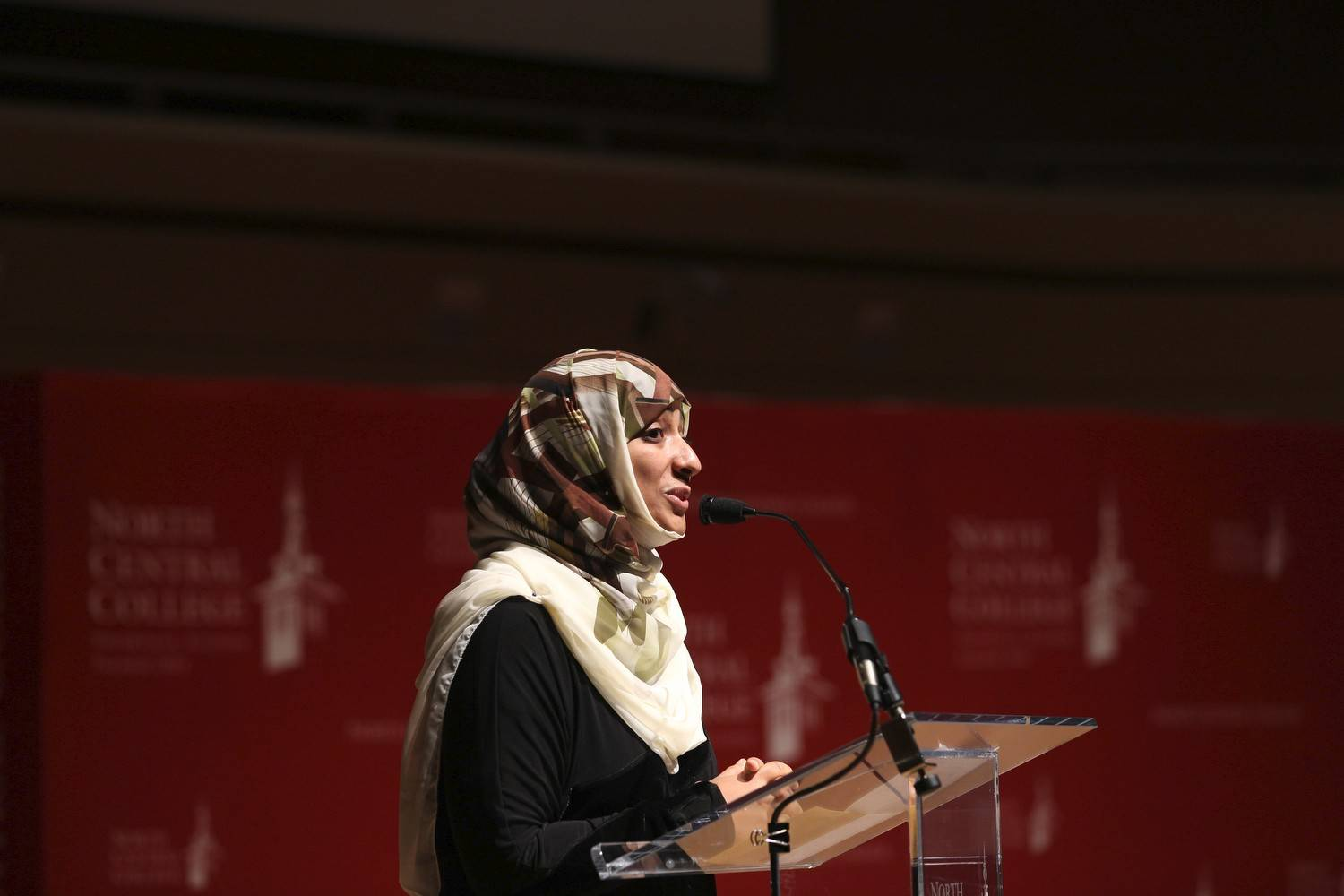 Nobel Peace Laureate Tawakkol Karman urges students at Naperville's North Central College to get involved as she shares her experiences as the female leader of Yemen's peaceful revolution.