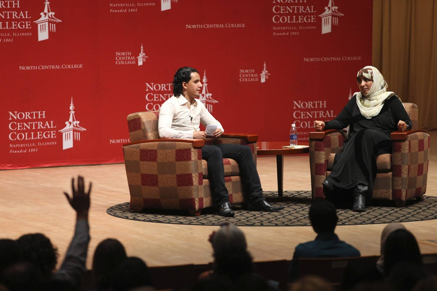 Tawakkol Karman, right, participates in a Q&A session at North Central College with Mustafa Alnaqeb, an international student from Yemen.