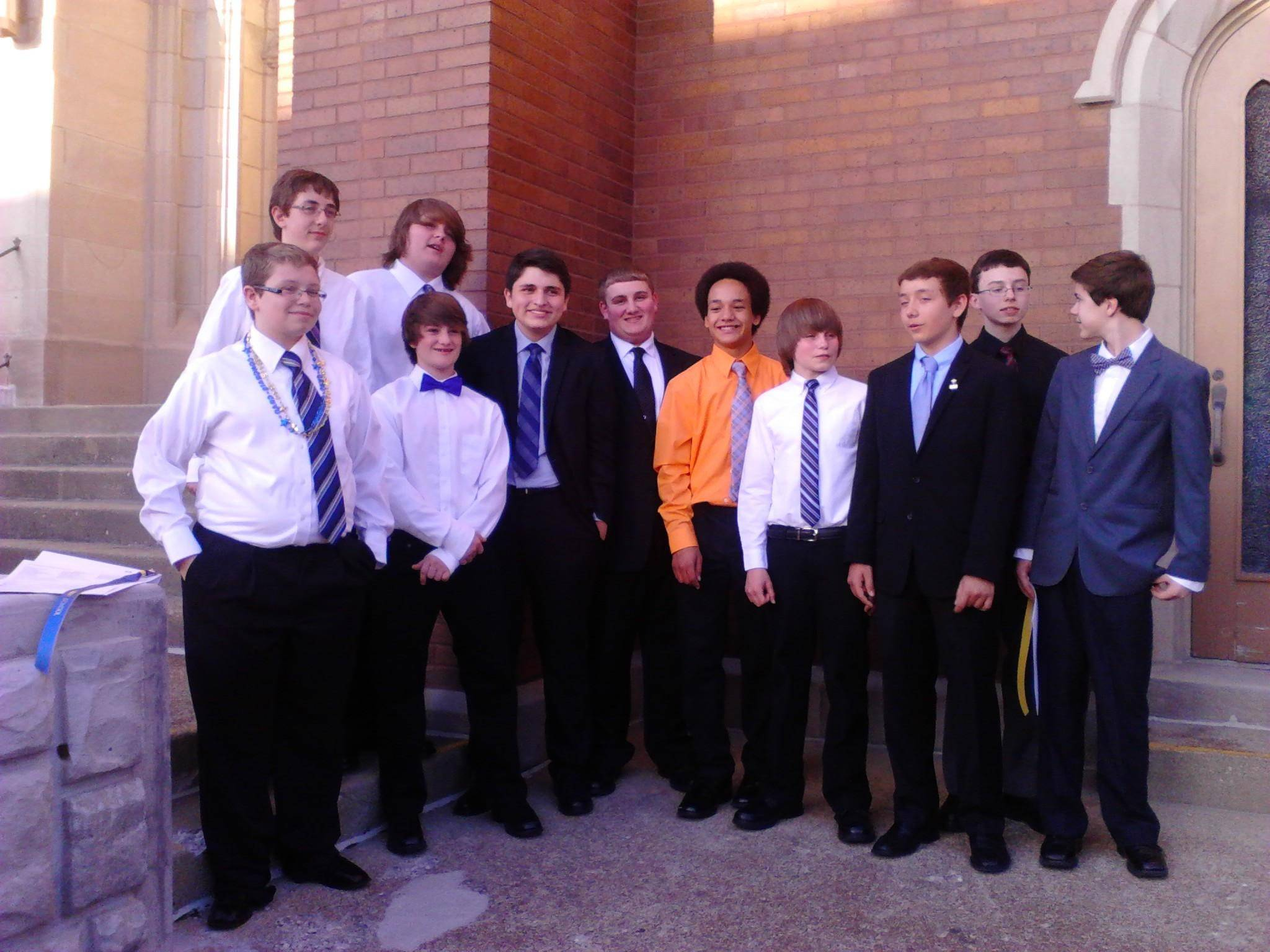 Eighth-grade graduates from St. John Lutheran School in Elgin include: front row, from left, Cory Hall, Ayden Ideran, William Wehrwein, Phillip Welch, Jonathan Franco, Eric Brands, Jake Lesh, Dietrich Versaw, Toby Little; and back row, Austin Kimsey and Chas Migut.