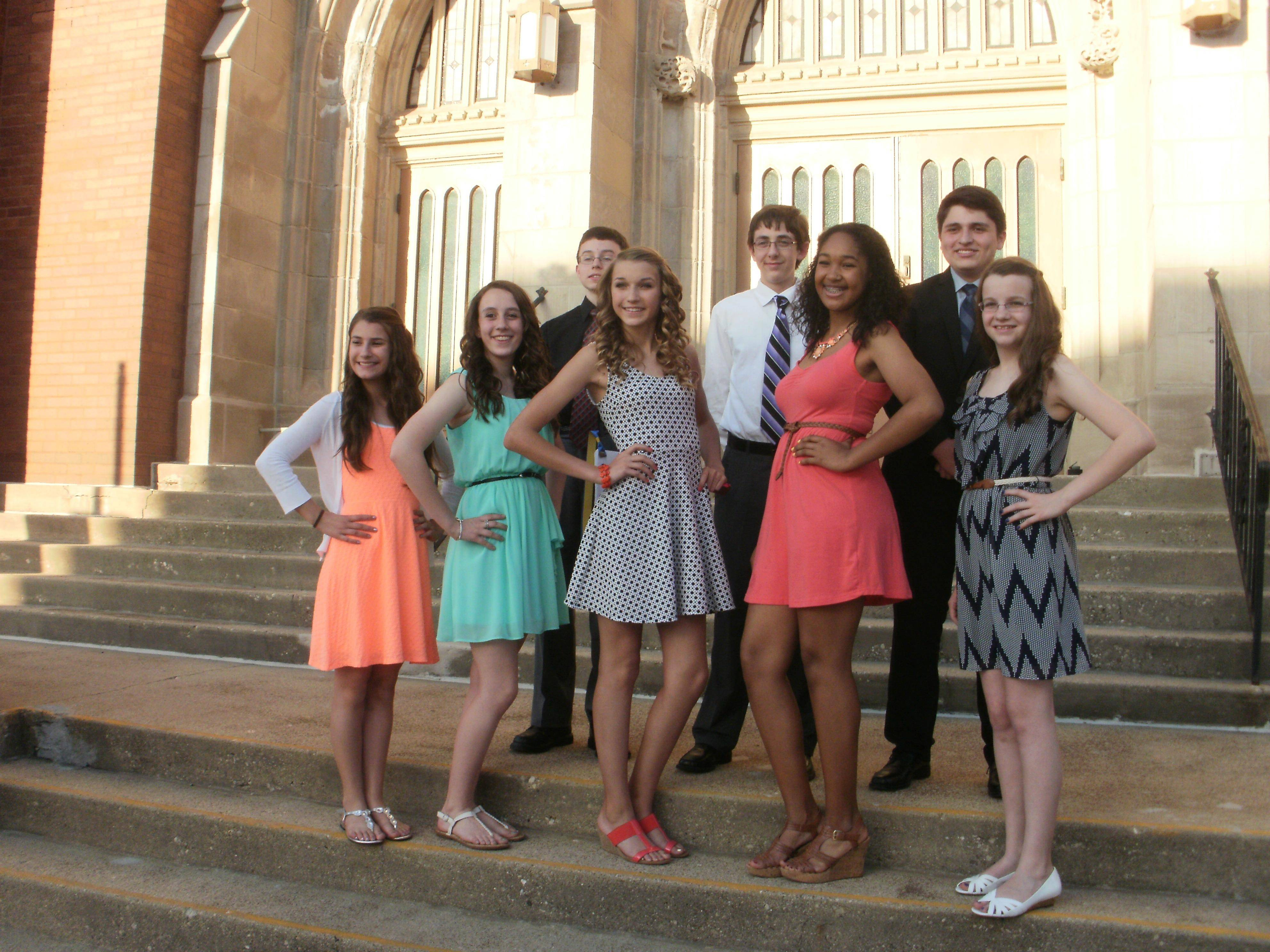 The eighth-grade class of St. John Lutheran School in Elgin has 22 members. Eight of these students have been together since preschool and kindergarten. Pictured are front row, Lauren Nacht, Meagan MacLeod, Elaina Studt, Erika Burns and Melissa Ailes; and back row, Dietrich Versaw, Austin Kimsey and William Wehrwein.