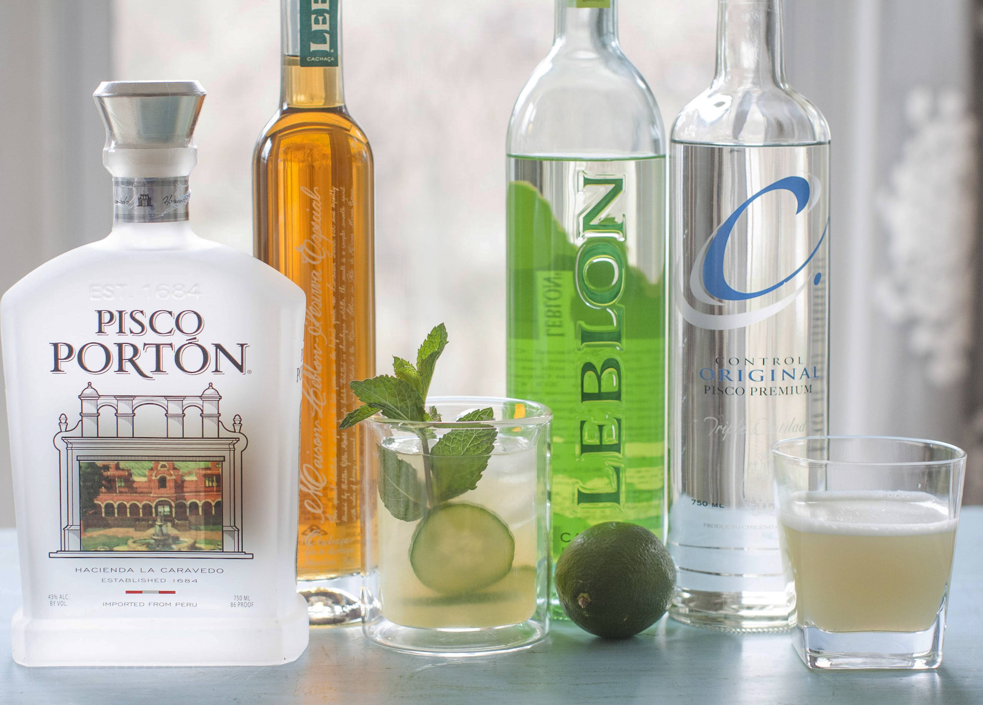South American spirits and cocktails, such as Pisco Porton, from left, Leblon special reserve, a cachaca mojito made with Leblon cachaca, Leblon cachaca, Control original pisco premium and a pisco sour, are becoming more popular in the U.S.