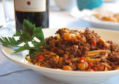 Moroccan Style Lamb Bolognese with Chickpeas over Whole Wheat Pasta