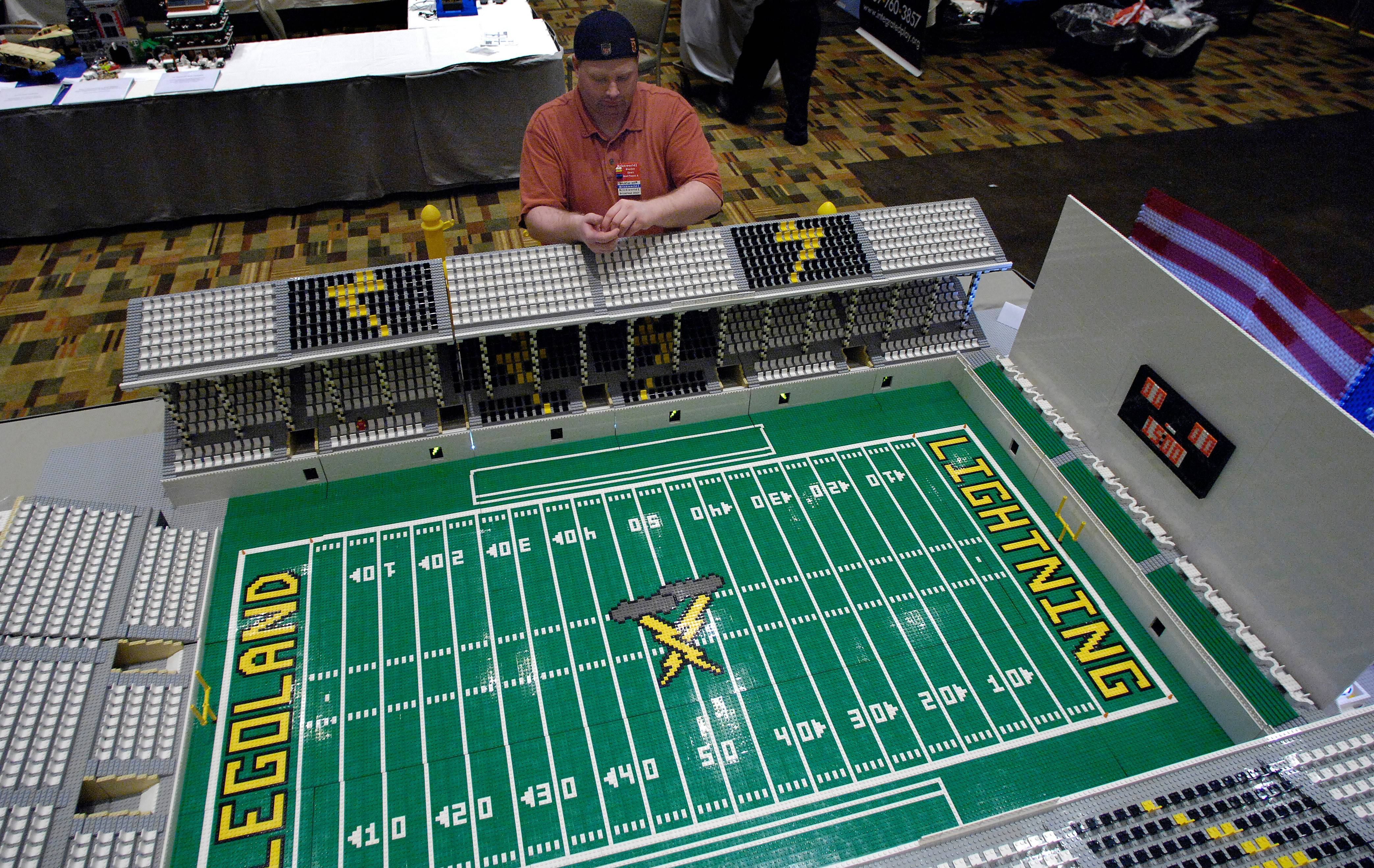 This football stadium built over two years at a cost of about $10,000 was among the Lego creations on display at the 2009 Brickworld, which was held in Wheeling.