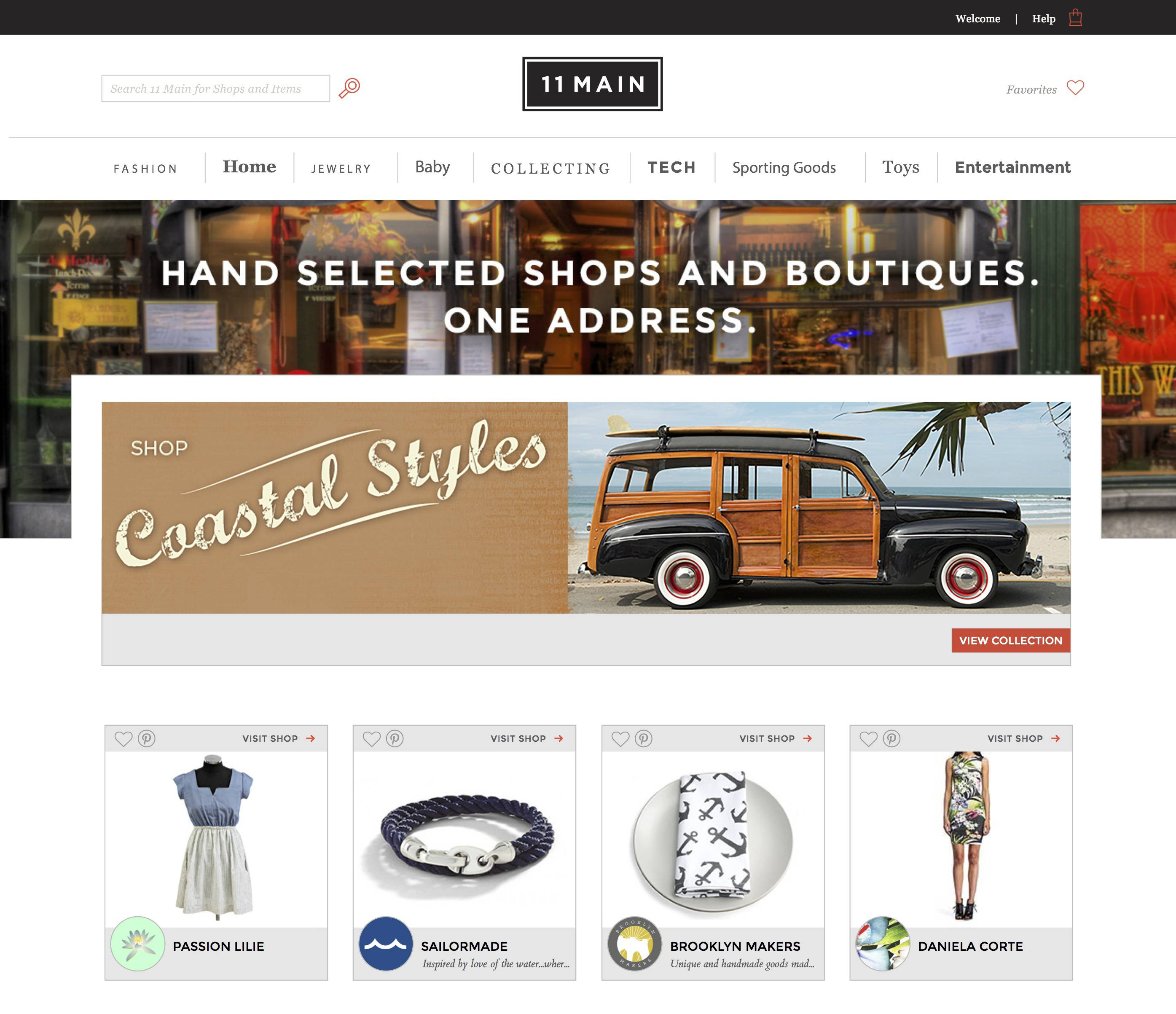 This screen shot shows 11 Main's homepage. The new e-commerce site is hoping to bring Main Street to the Web with an invite-only online marketplace that focuses on small-business retailers.