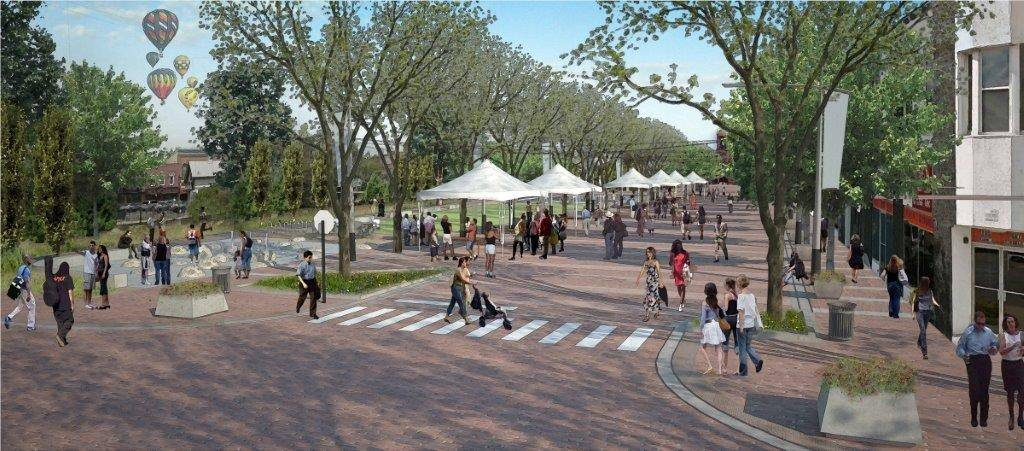 A rendering of what Liberty Street in Wheaton could look like once revitalization plans are complete. The Wheaton City Council started discussing the implementation of the city's downtown strategic and streetscape plan Monday.