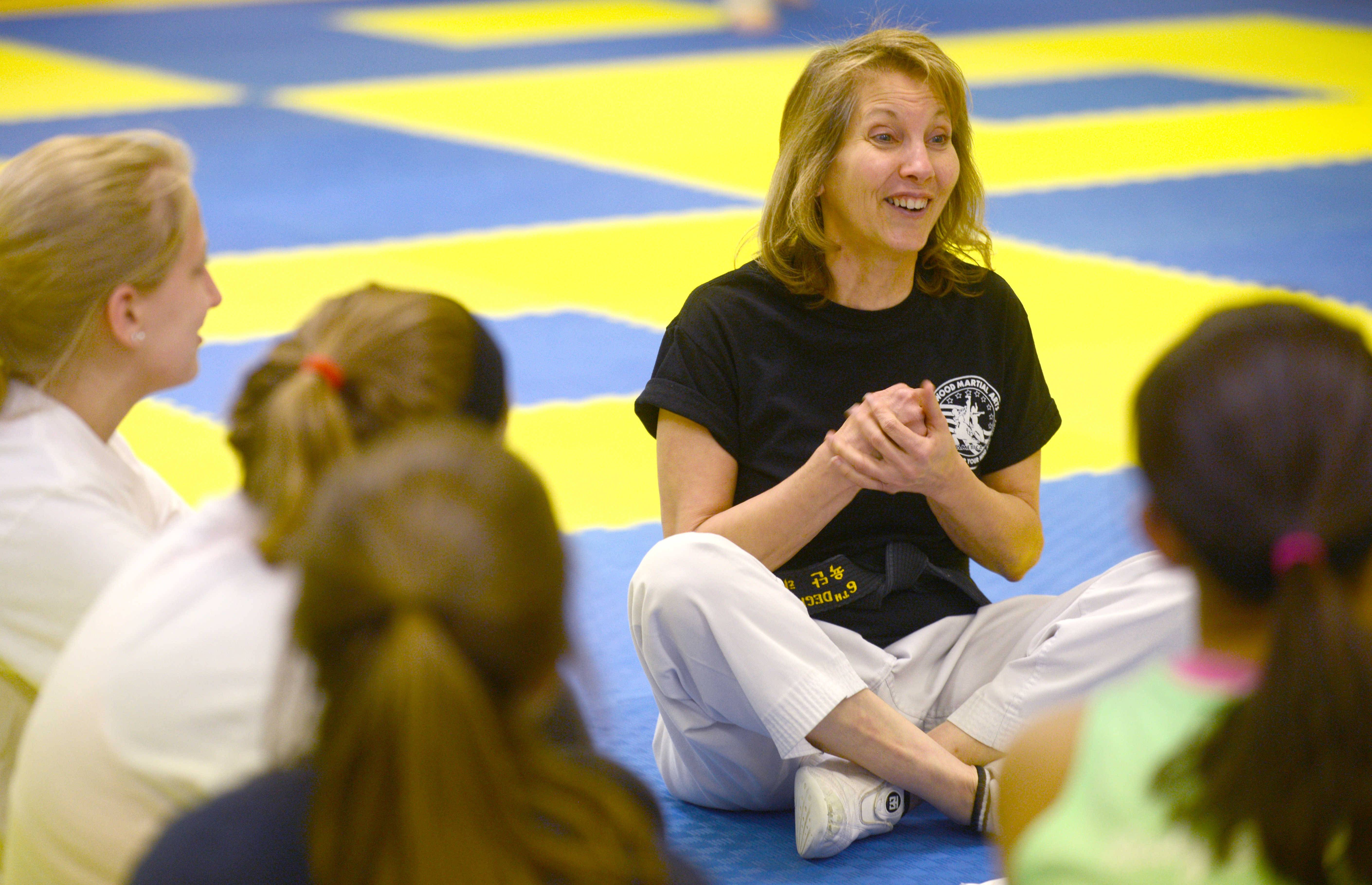 Instructor Jan Wood shares her enthusiasm for using various body limbs as weapons for self-defense.