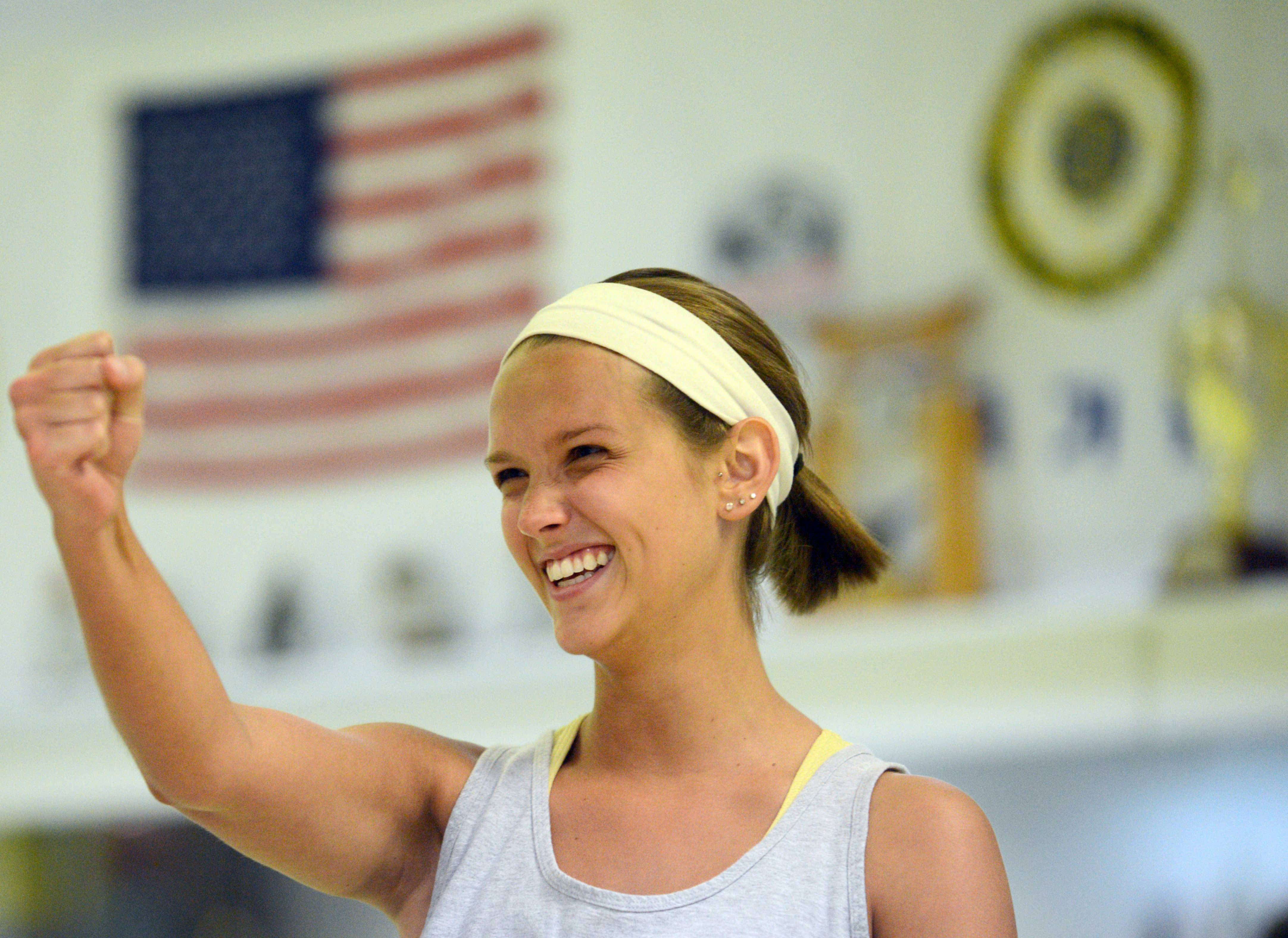 Rachel Wittel of Palatine shows her might during a women's self-defense class.