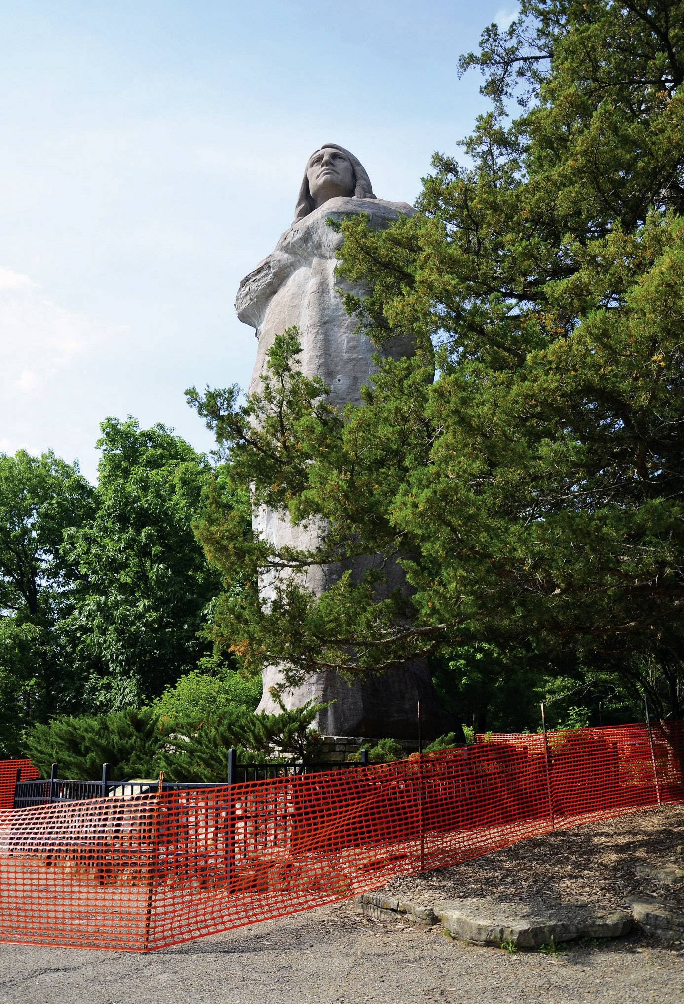 Fencing around the 50-foot Black Hawk statue at Lowden State Park protects visitors in case more parts fall off.