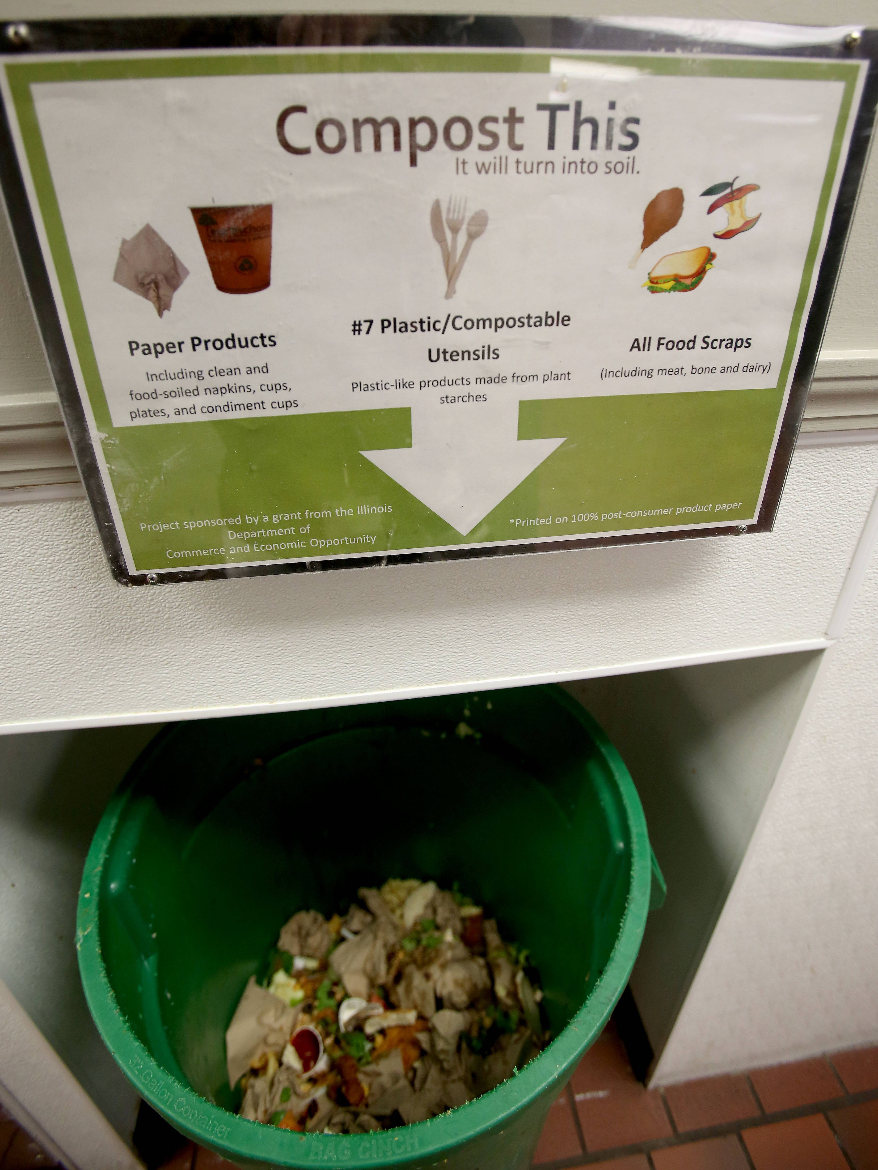 Students at North Central College in Naperville have had composting in their cafeteria for three years.