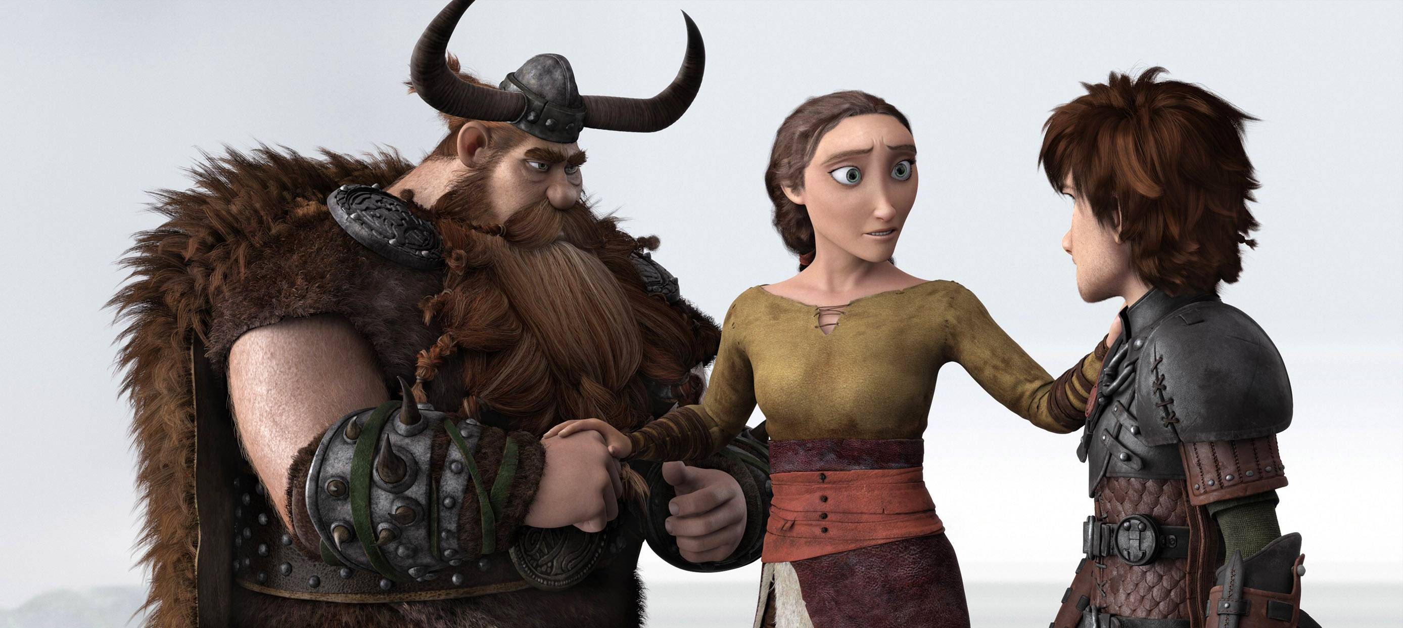 "Stoick (Gerard Butler), left, and Hiccup (Jay Baruchel), right, reunite with Hiccup's presumed-dead mother Valka (Cate Blanchett) in ""How To Train Your Dragon 2."""
