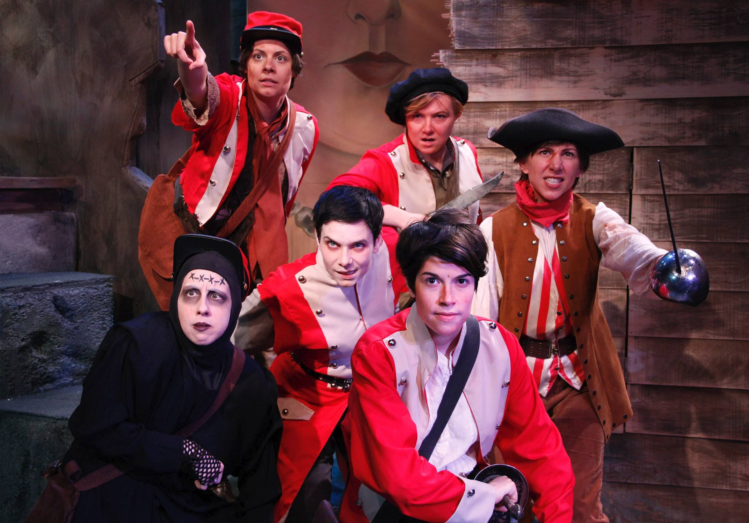"The band of ""brothers"" who make of Lifeline Theatre's ""Monstrous Regiment"" includes: Katie McLean Hainsworth, front row left, and Sarah Price; Michaela Petro, middle row; and Melissa Engle, top row left; Mandy Walsh, top row center; and Kim Boler. Chris Hainsworth's adaptation of Terry Pratchett's Discworld novel runs through July 20."