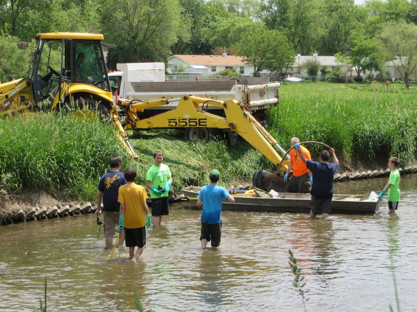 Volunteers from Boy Scout Troop 95 help clean up Salt Creek in Elk Grove Village last weekend. Organizers say volunteers removed some 72 cubic yards of garbage during the 20th annual cleanup effort.