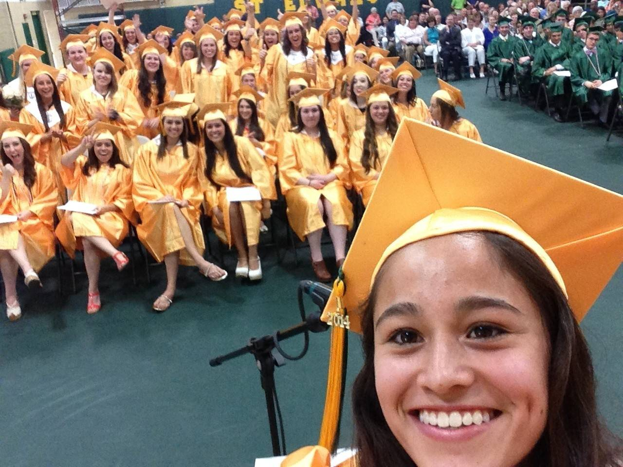 St. Edward senior Monica Ramirez, the honorary captain of the Daily Herald's Fox Valley girls soccer all-area team, took this selfie with her class at the school's baccalaureate ceremony. Ramirez was the salutatorian of the Class of 2014.