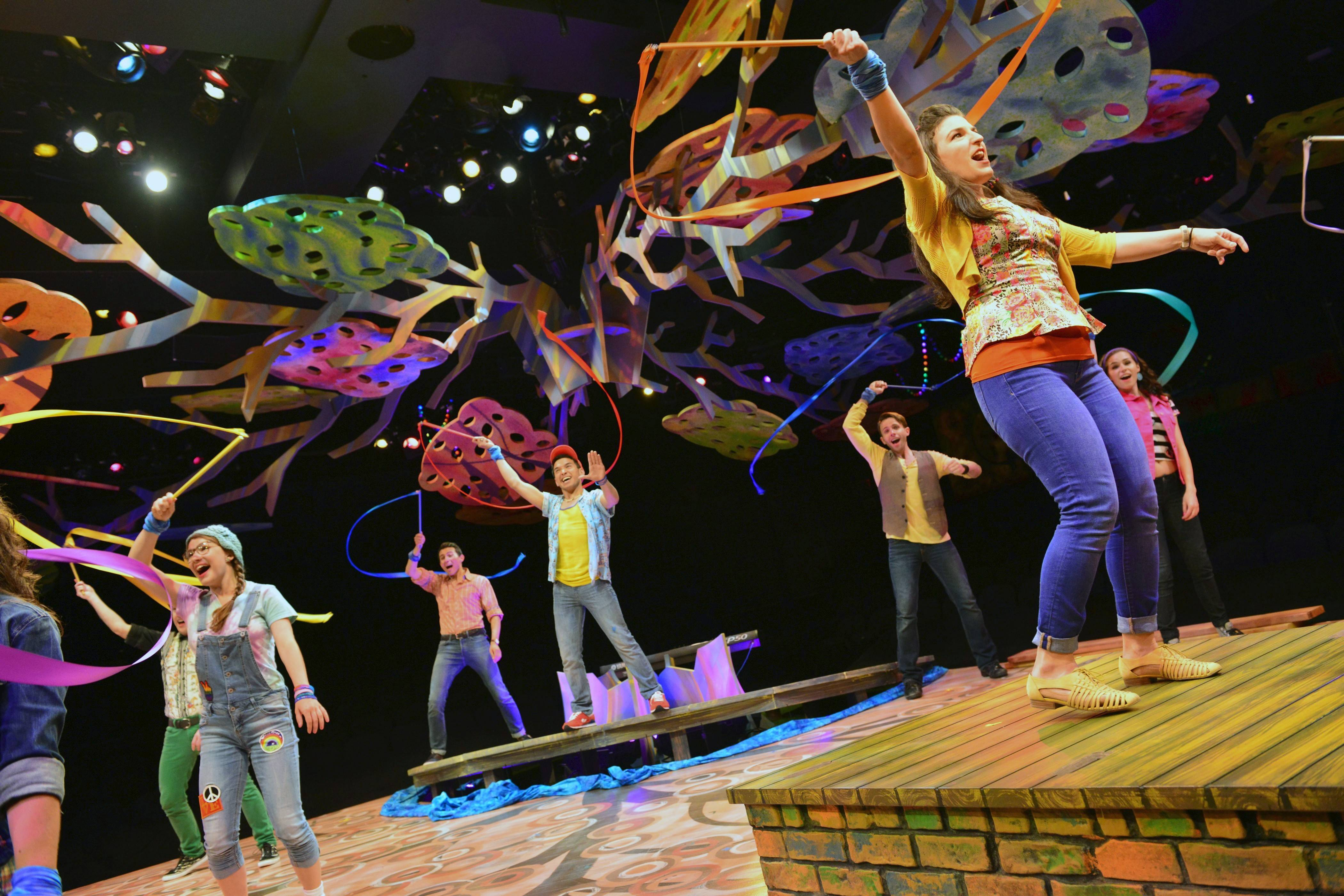 "The ensemble of ""Godspell"" at the Marriott Theatre in Lincolnshire sing the praise-filled pop number ""We Beseech Thee."" This updated and revised take on the 1971 Stephen Schwartz musical revue of Christian parables and upbeat pop songs makes its Chicago-area debut through Sunday, Aug. 10."