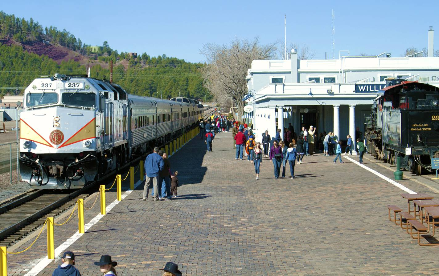 The Grand Canyon Railway gets ready to depart from its depot in Williams, Arizona.