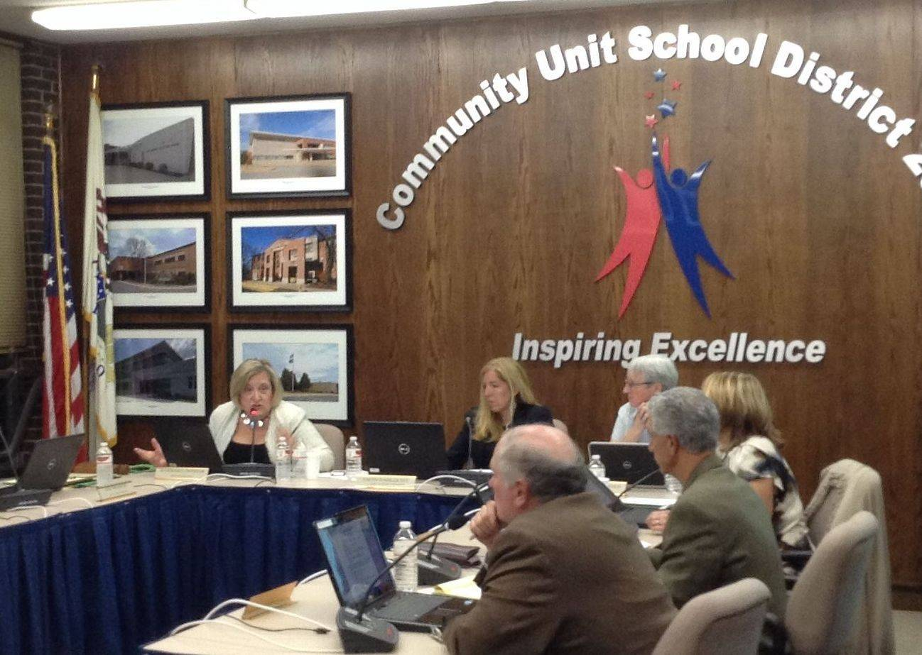 Wheaton Warrenville Unit District 200 Board of Education President Barbara Intihar, far left, discusses the district's search for a new superintendent Wednesday during a board of education meeting. Brian Harris vacated the position on May 29 to take over as superintendent of Barrington Unit District 220.
