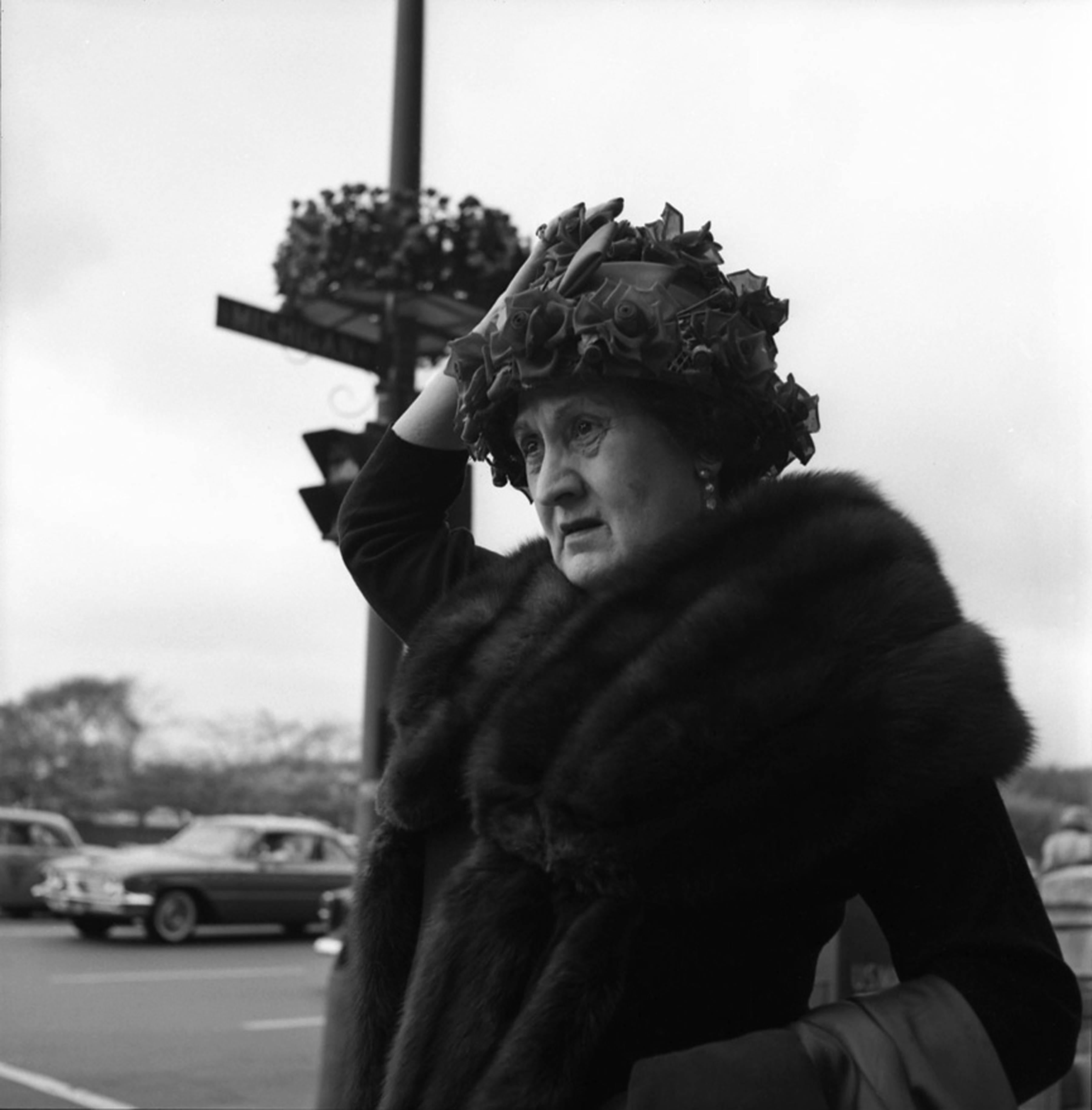 Vivian Maier took this photo of a woman in a floral hat on Michigan Avenue in Chicago in 1961.