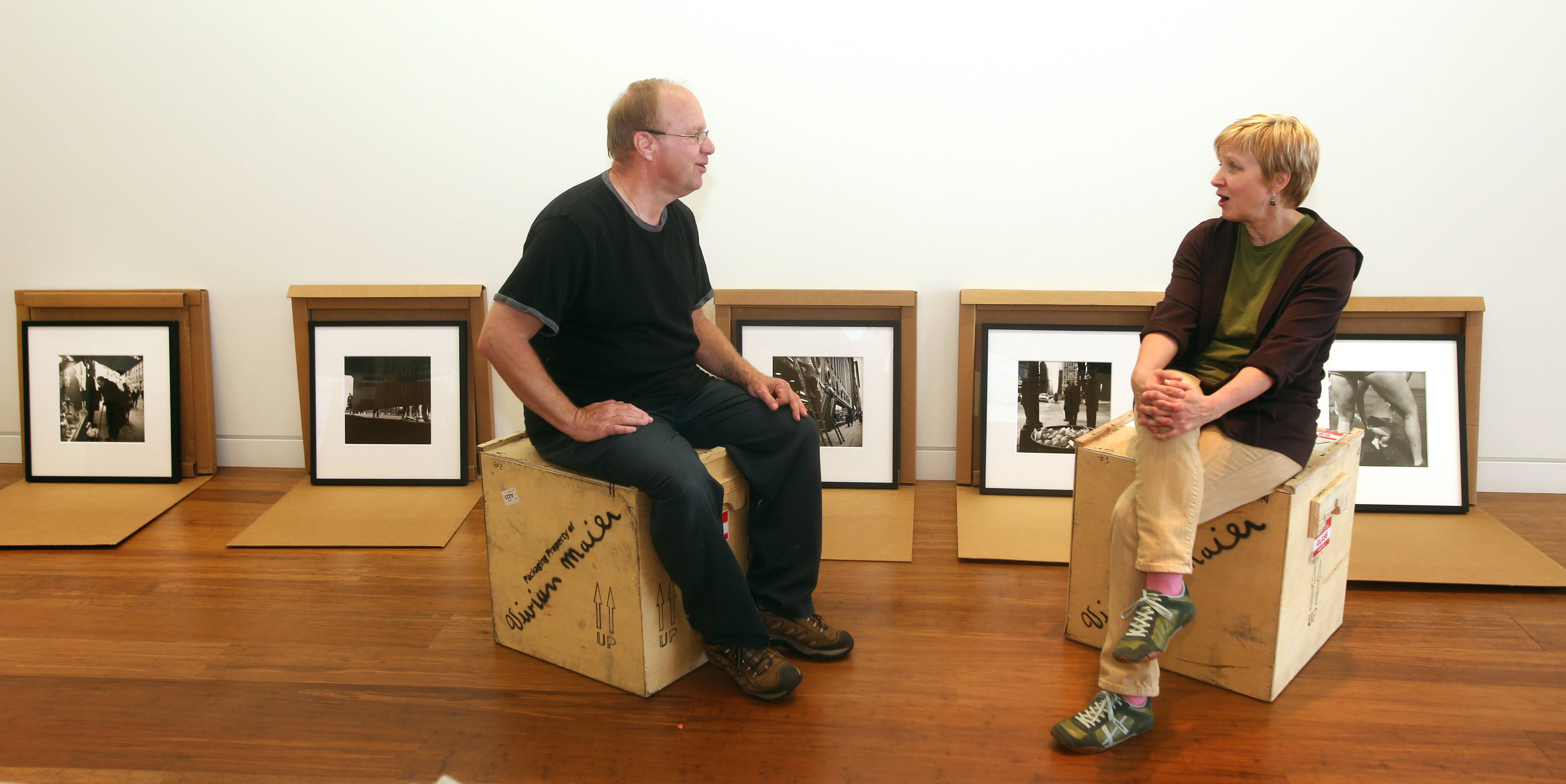 "Frank Jackowiak, COD program specialist/lab manager, and gallery Director Barb Wiesen are co-curators of the ""Vivian Maier: Exposed"" exhibit opening Tuesday, June 17, in the Cleve Carney Art Gallery at the College of DuPage's McAninch Arts Center."