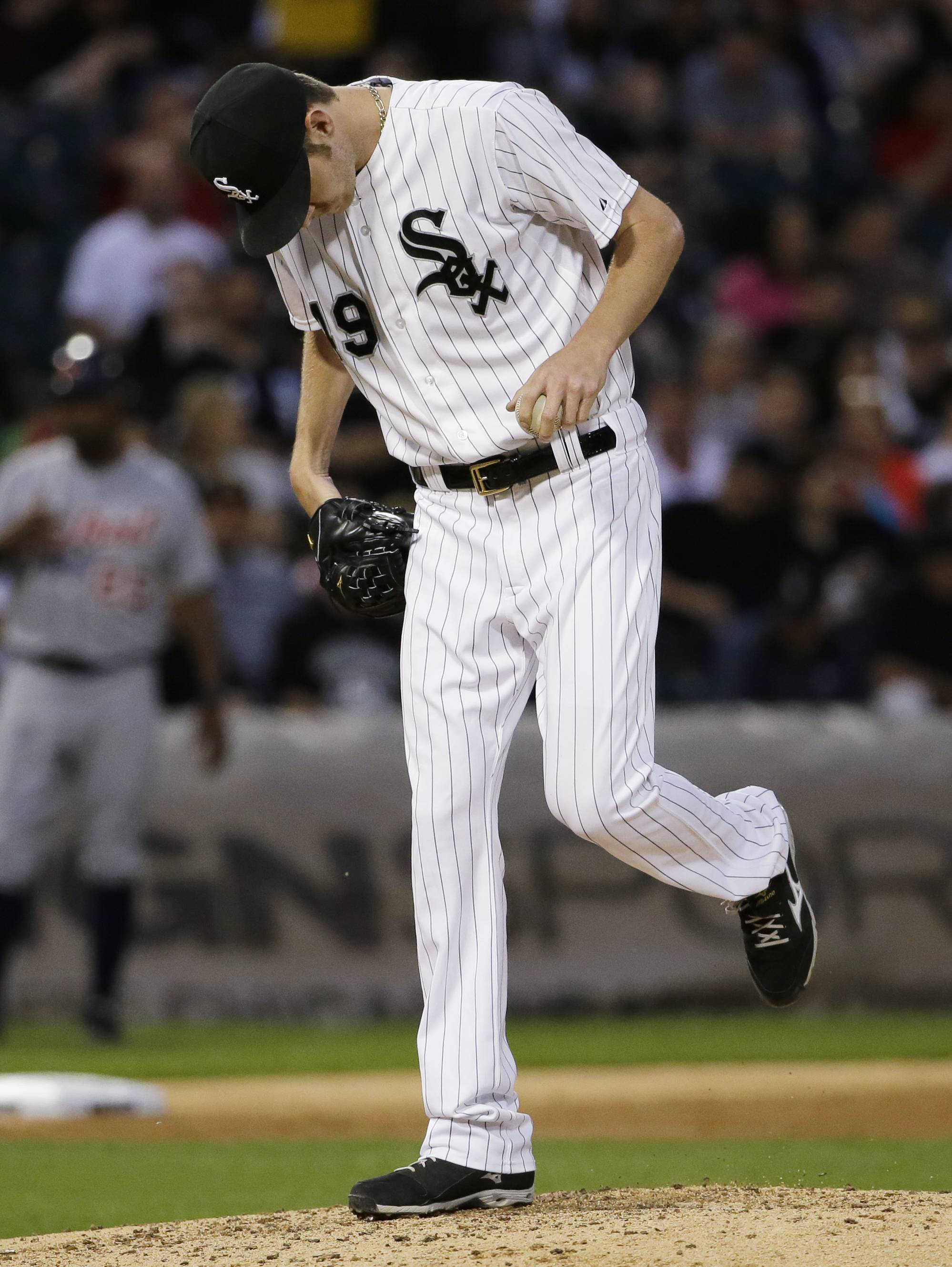 White Sox starter Chris Sale kicks the dirt after Detroit Tigers' Victor Martinez hit a solo home run during the fifth inning Thursday at U.S. Cellular Field.