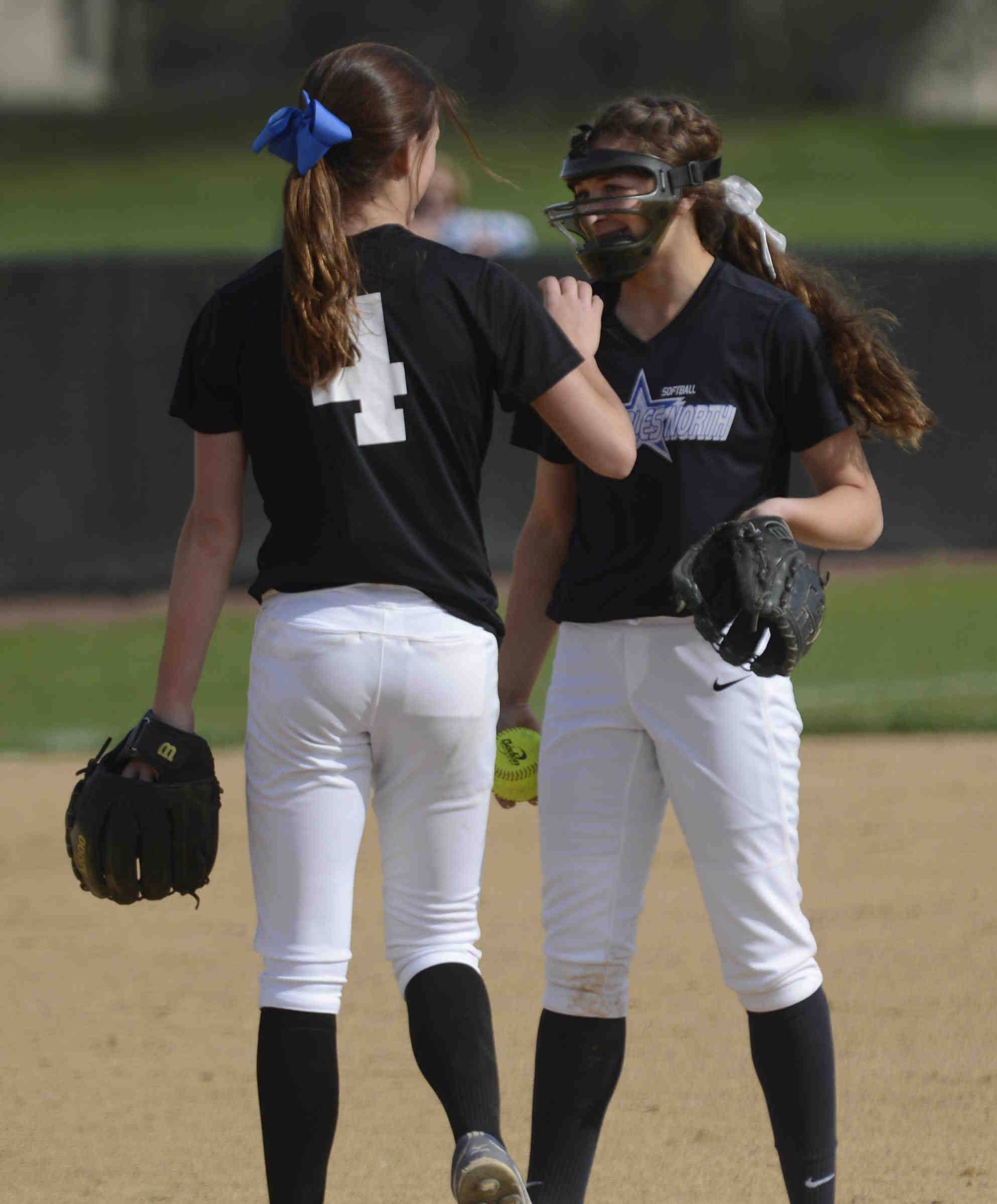 Center field is Sabrina Rabin's natural position, but she was the ace for St. Charles North the past three years. Here she is pictured with second baseman Kaitlyn Waslawski.