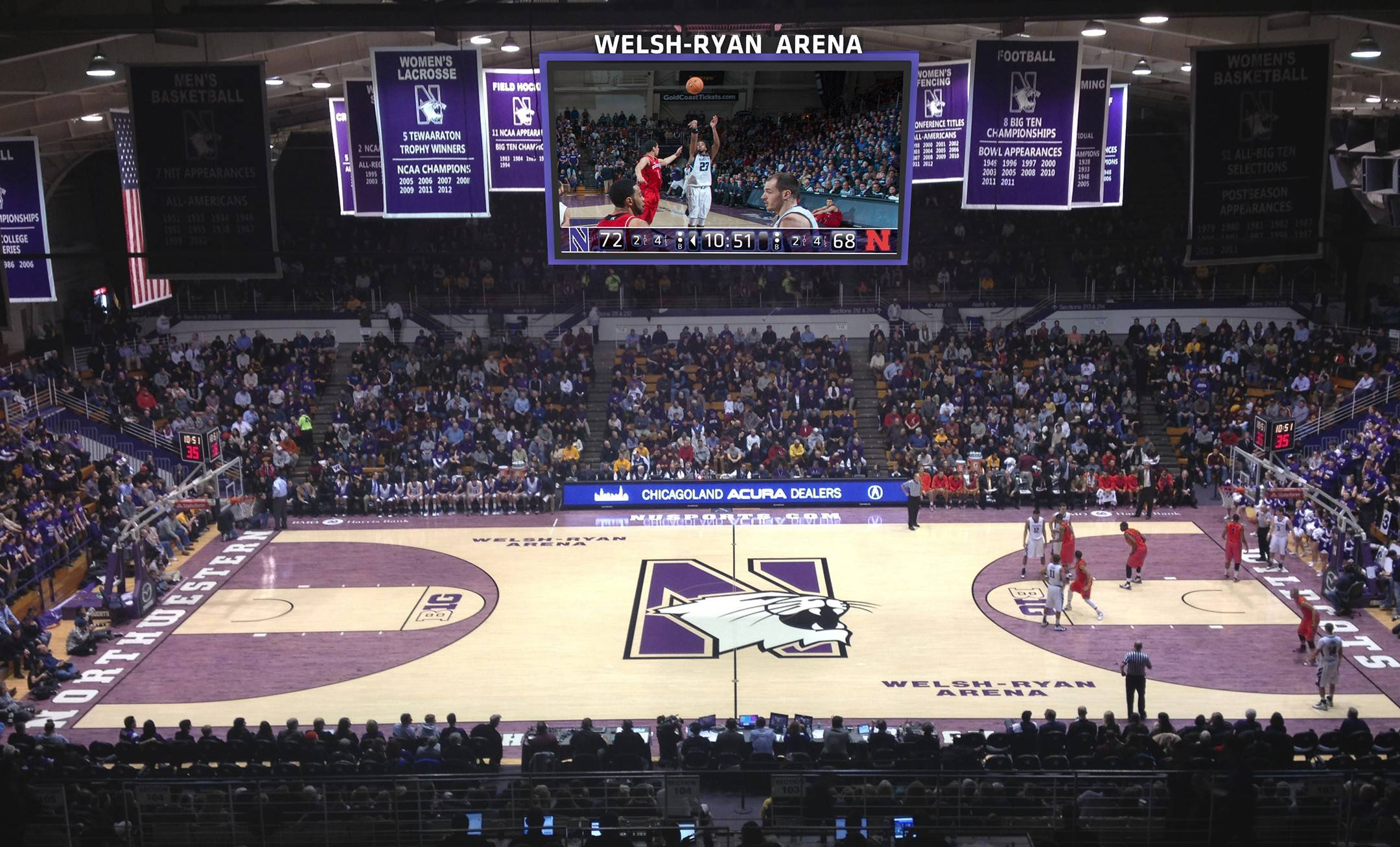 This is how the new two-sided scoreboard will look this fall above Northwestern's court at Welsh-Ryan Arena.