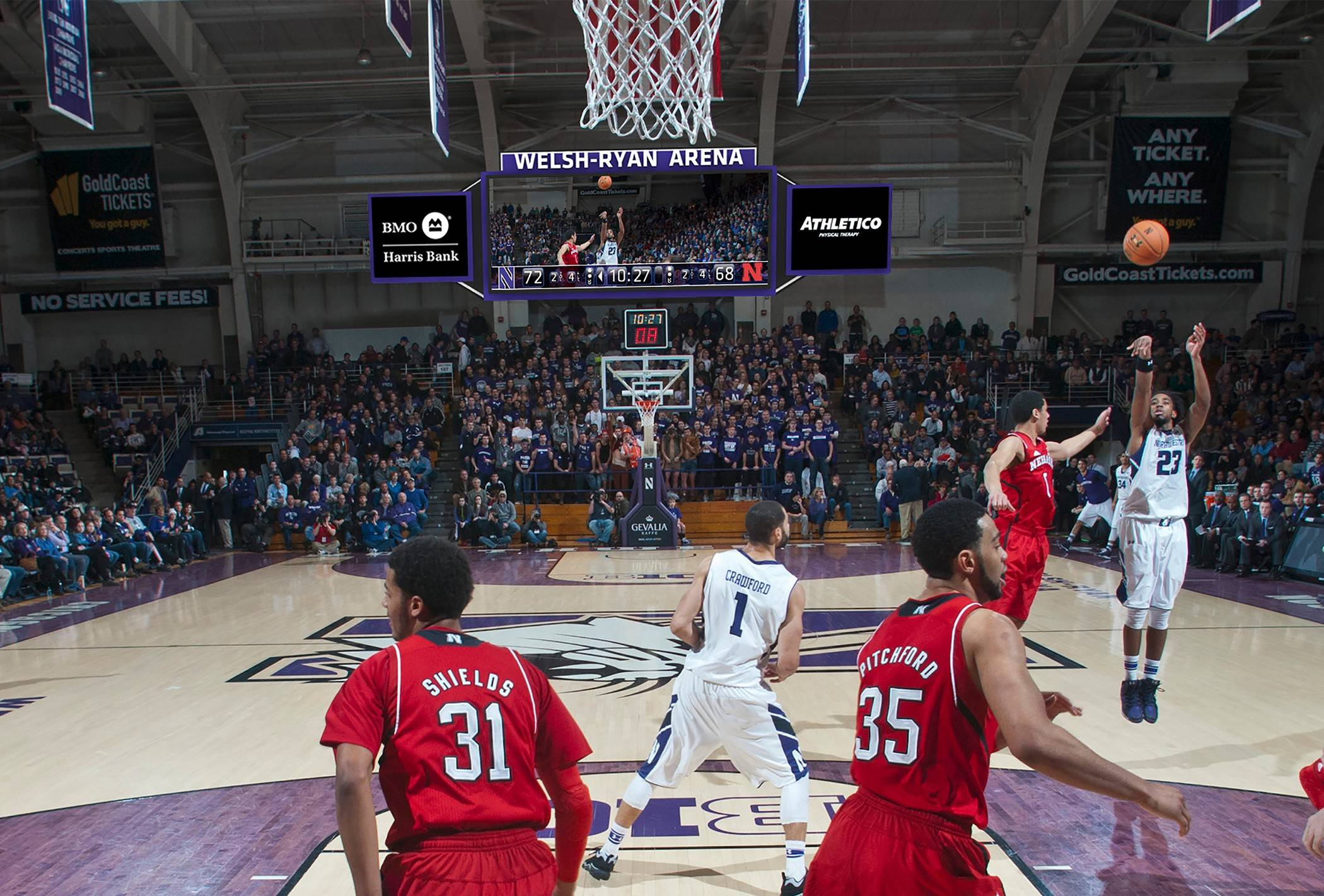 This is how the scoreboard behind the basket will look this fall at Northwestern's Welsh-Ryan Arena.