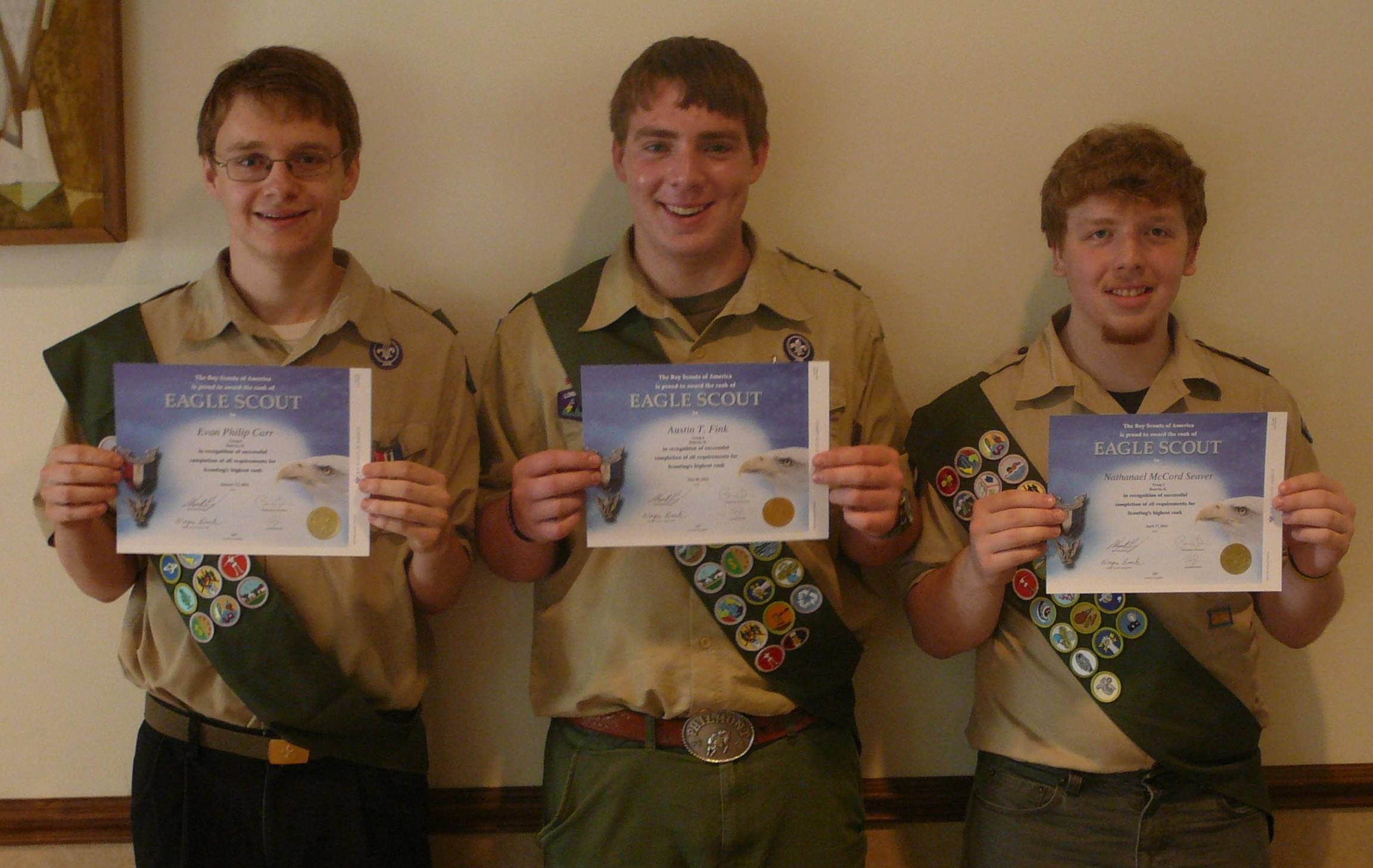 Batavia's Boy Scouts Troop 6 latest Eagle Scouts are, from left, Evan Carr, Austin Fink and Nate Seaver.