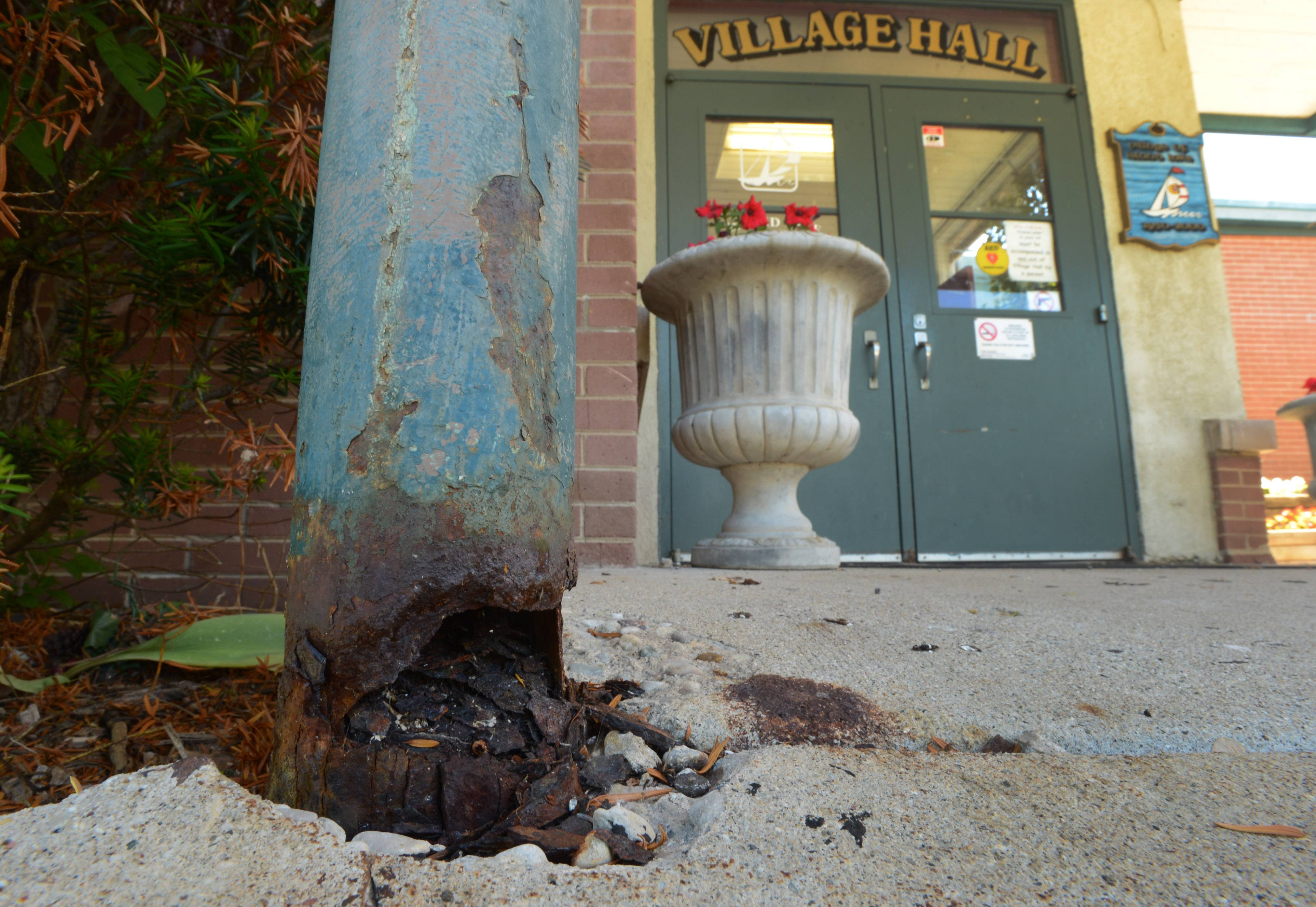 Deteriorating columns holding up the canopy in front of the Island Lake Village Hall are on the list of repairs for the building.