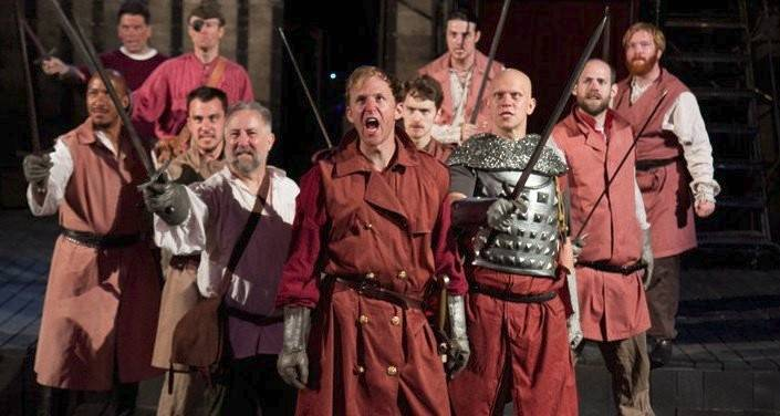 "Dennis Grimes, center, starred as Henry in Oak Park Festival Theatre's 2011 summer production of Shakespeare's ""Henry V."""