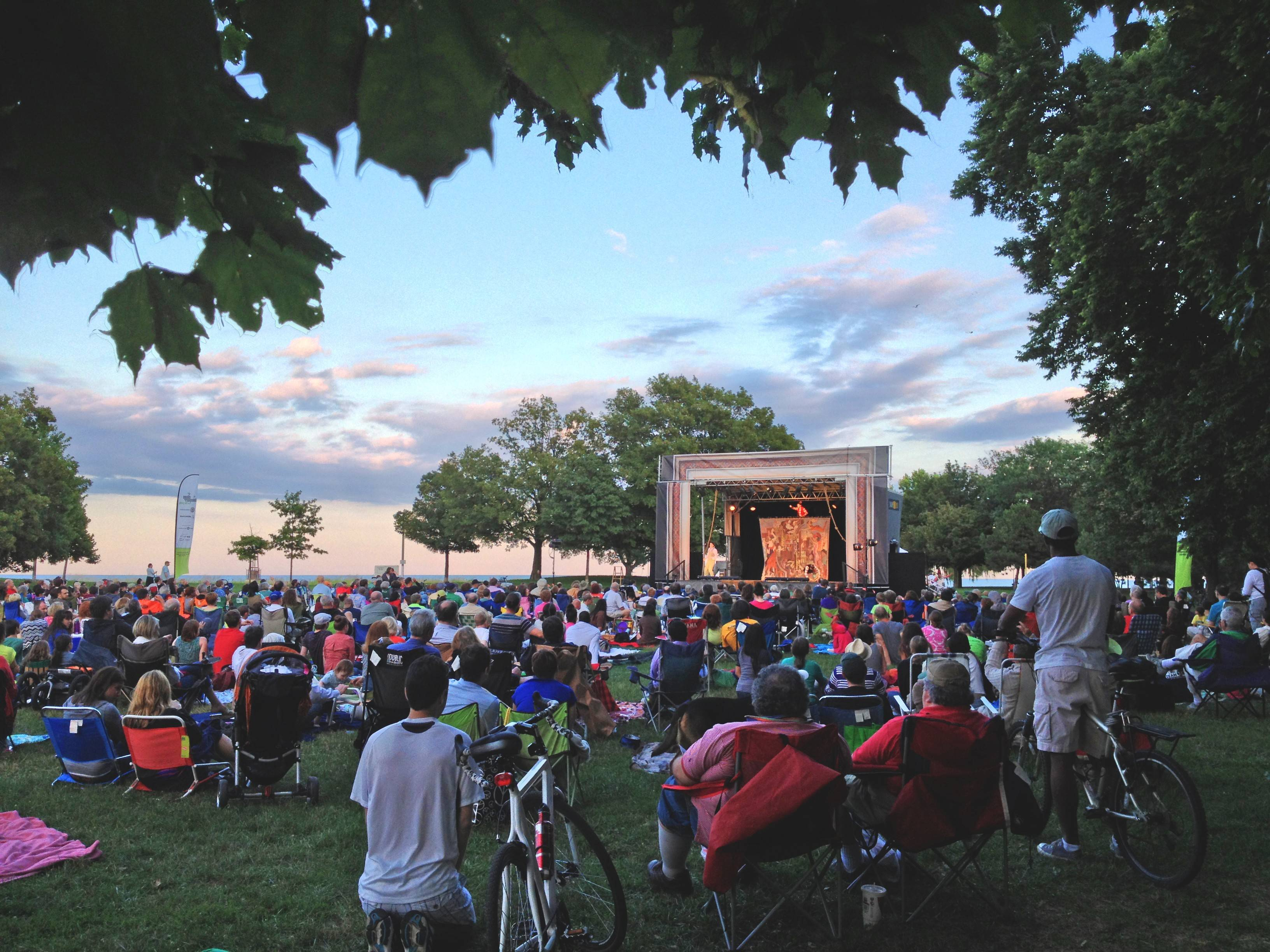 Audience members gathered in Loyola Park in Chicago last summer to see Shakespeare in the Parks.