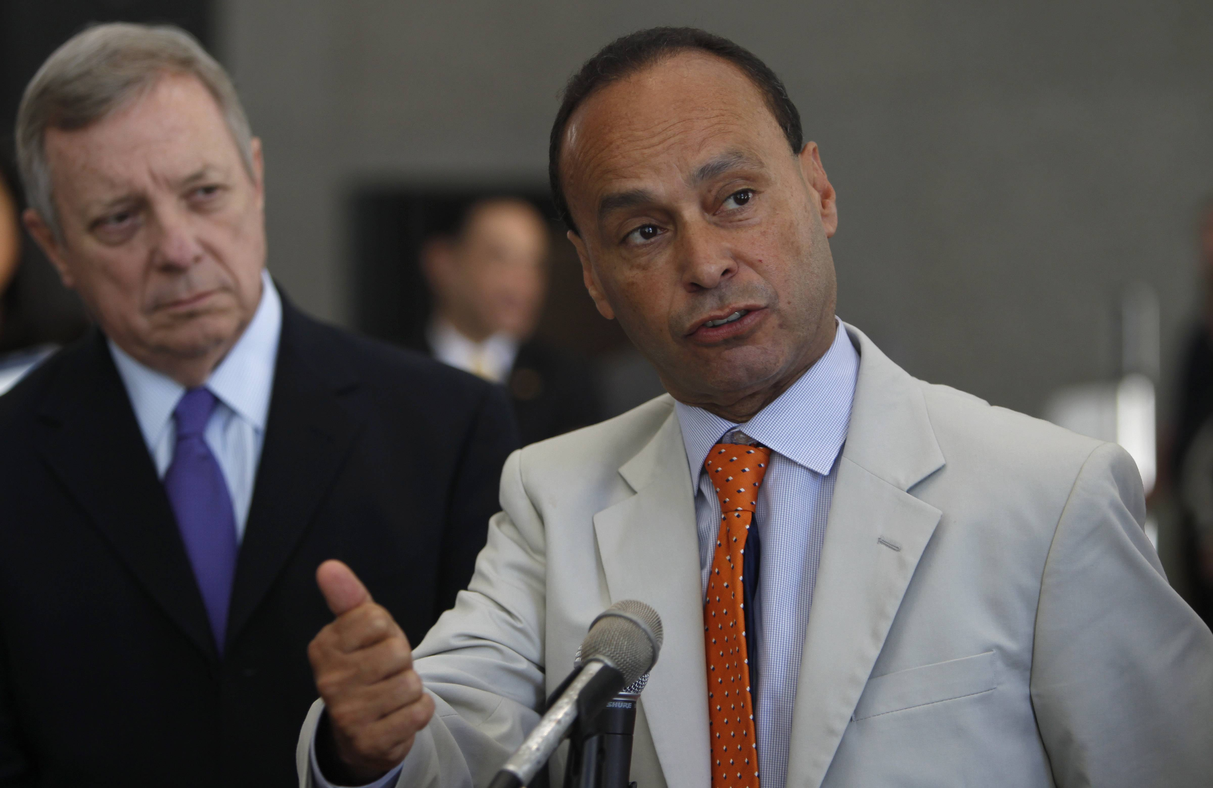 Rep. Luis Gutierrez, a Chicago Democrat, accompanied Homeland Security chief Jeh Johnson on his tour of the Broadview Immigration Detention Center.