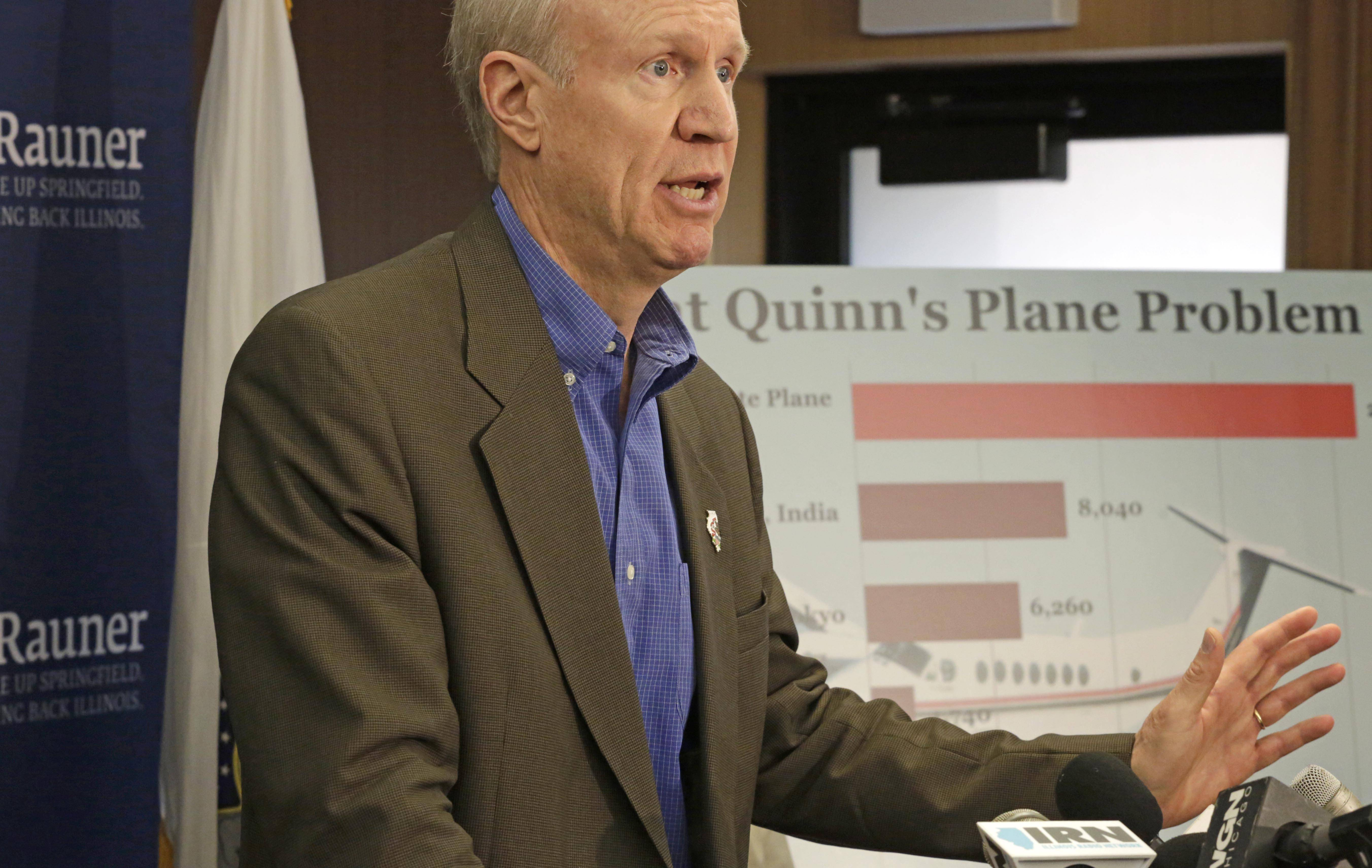 Republican gubernatorial candidate Bruce Rauner talks about his proposals for cutting what he calls wasteful spending during a Thursday news conference in Chicago..