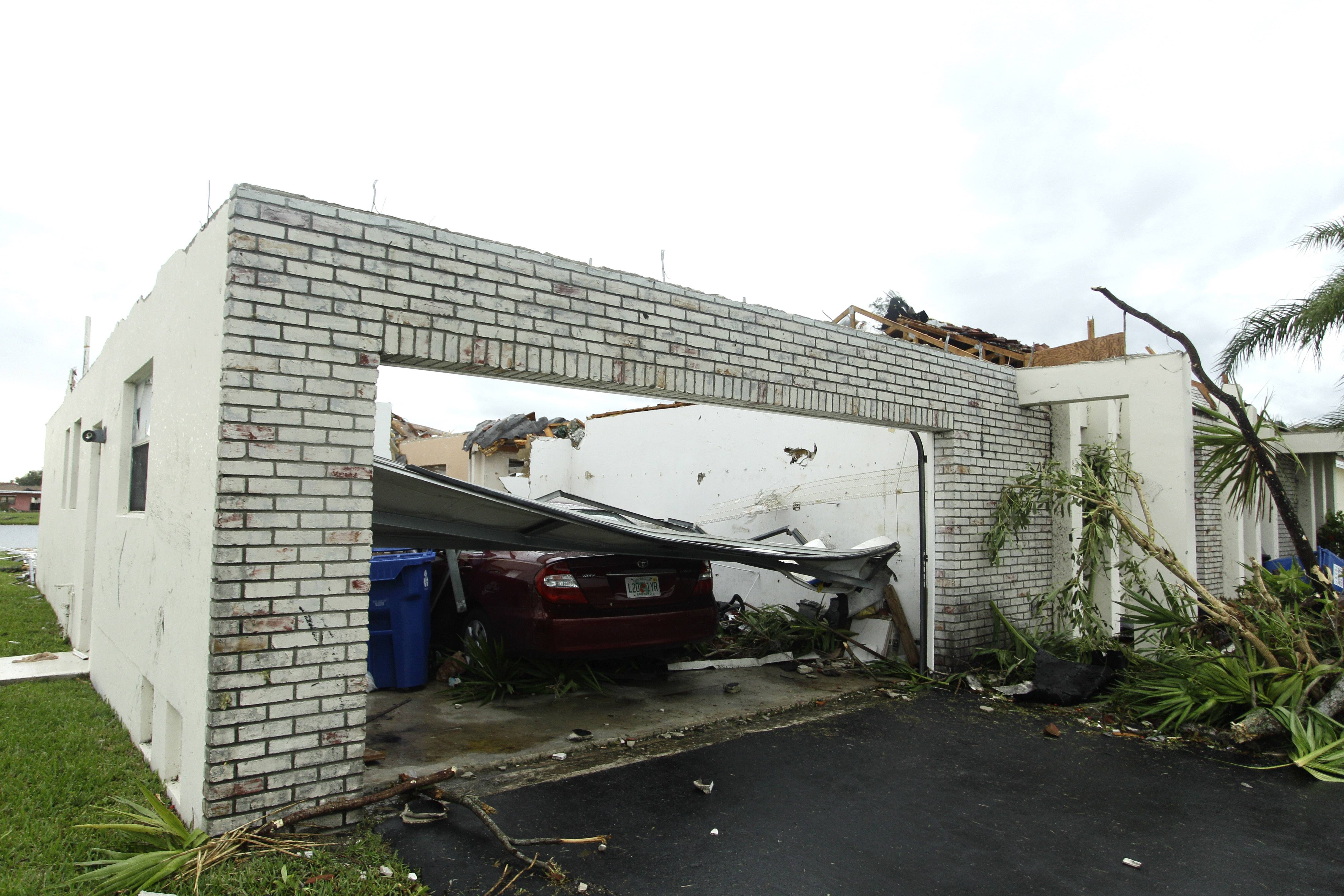 A damaged house in Sunrise, Fla. after a tornado damaged more than two dozen houses in the area. Oklahoma and Kansas may have the reputation as tornado hotspots, but Florida and the rest of the Southeast are far more vulnerable to killer twisters.