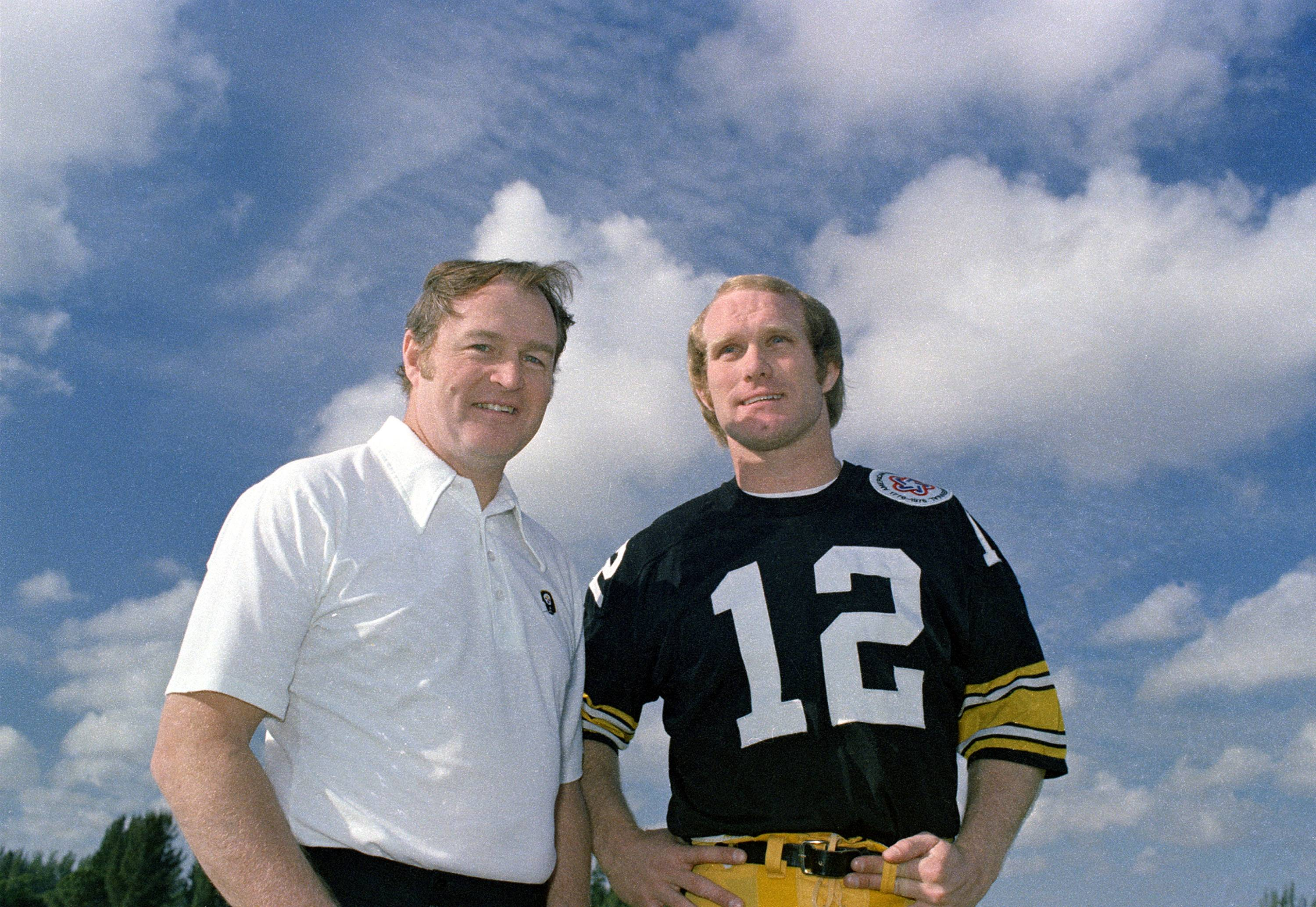 Coach Chuck Noll, left, and quarterback Terry Bradshaw in 1975. Both are in the Hall of Fame.