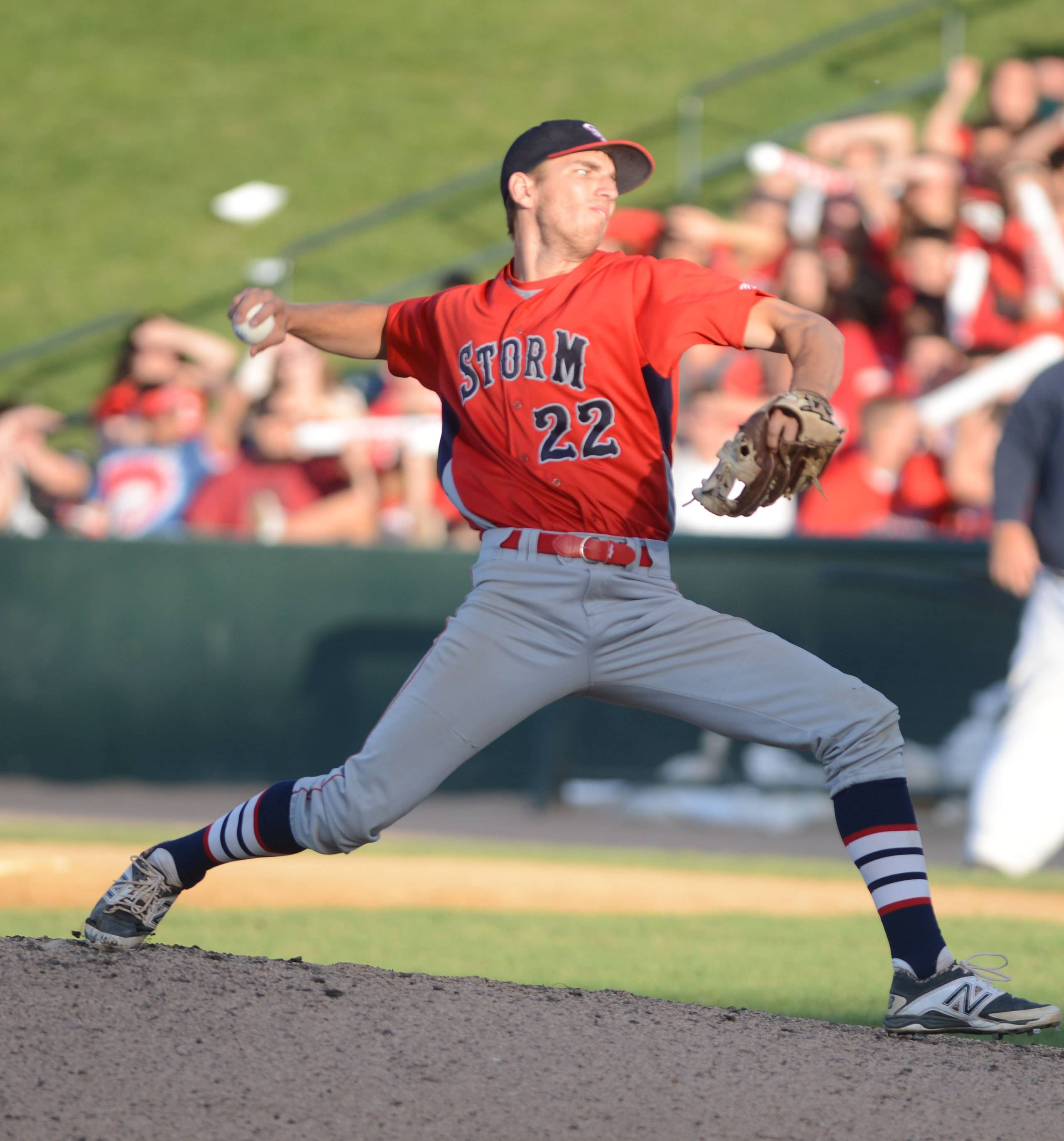 South Elgin's Ryan Nutof delivers against St. Rita during the Class 4A baseball state semifinals in Joliet on Friday.