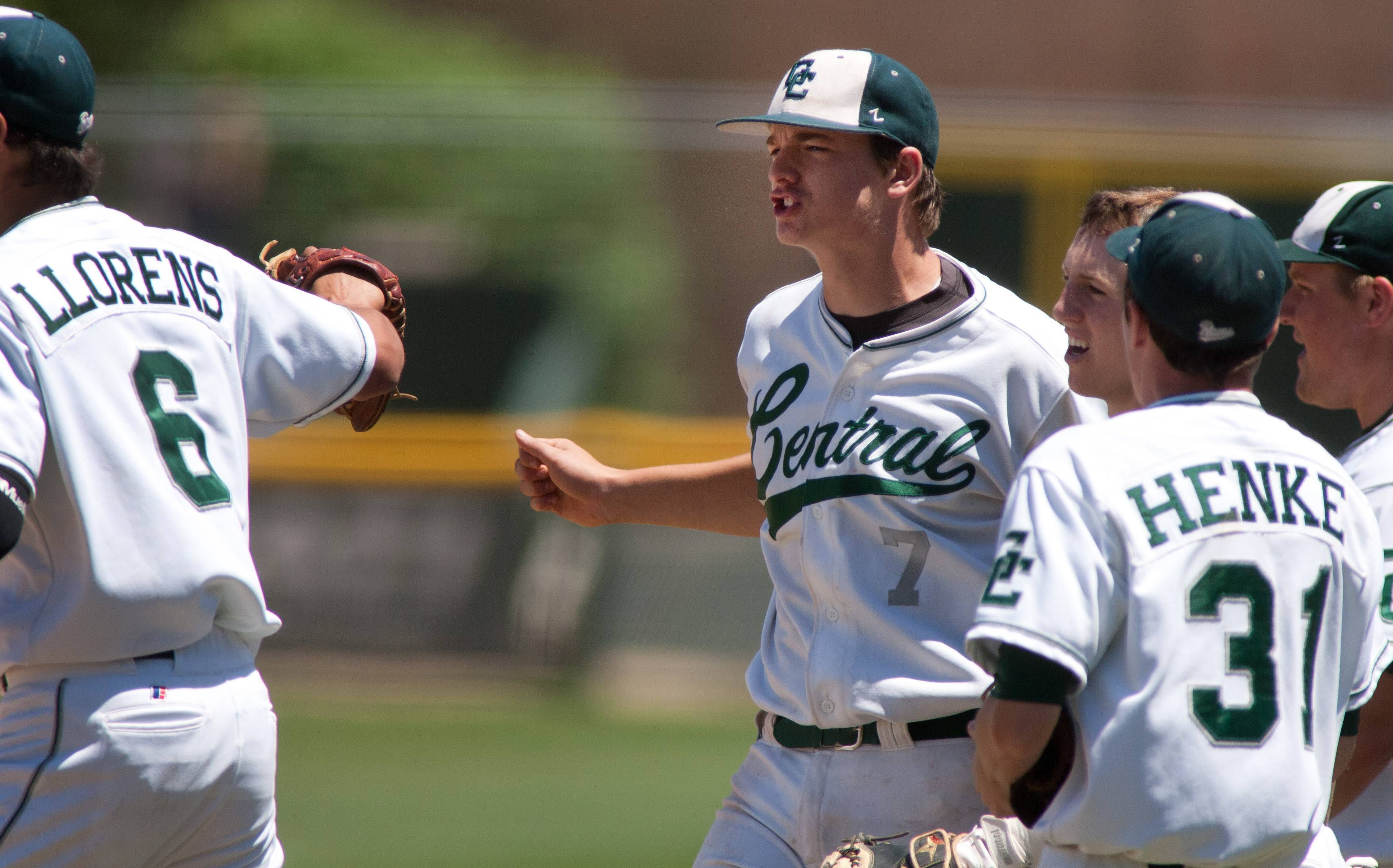 Grayslake Central's Kyle Clark, center, celebrates getting out of the second inning against Springfield Sacred Heart-Griffin, during Class 3A state baseball semifinals at Silver Cross Field in Joliet.