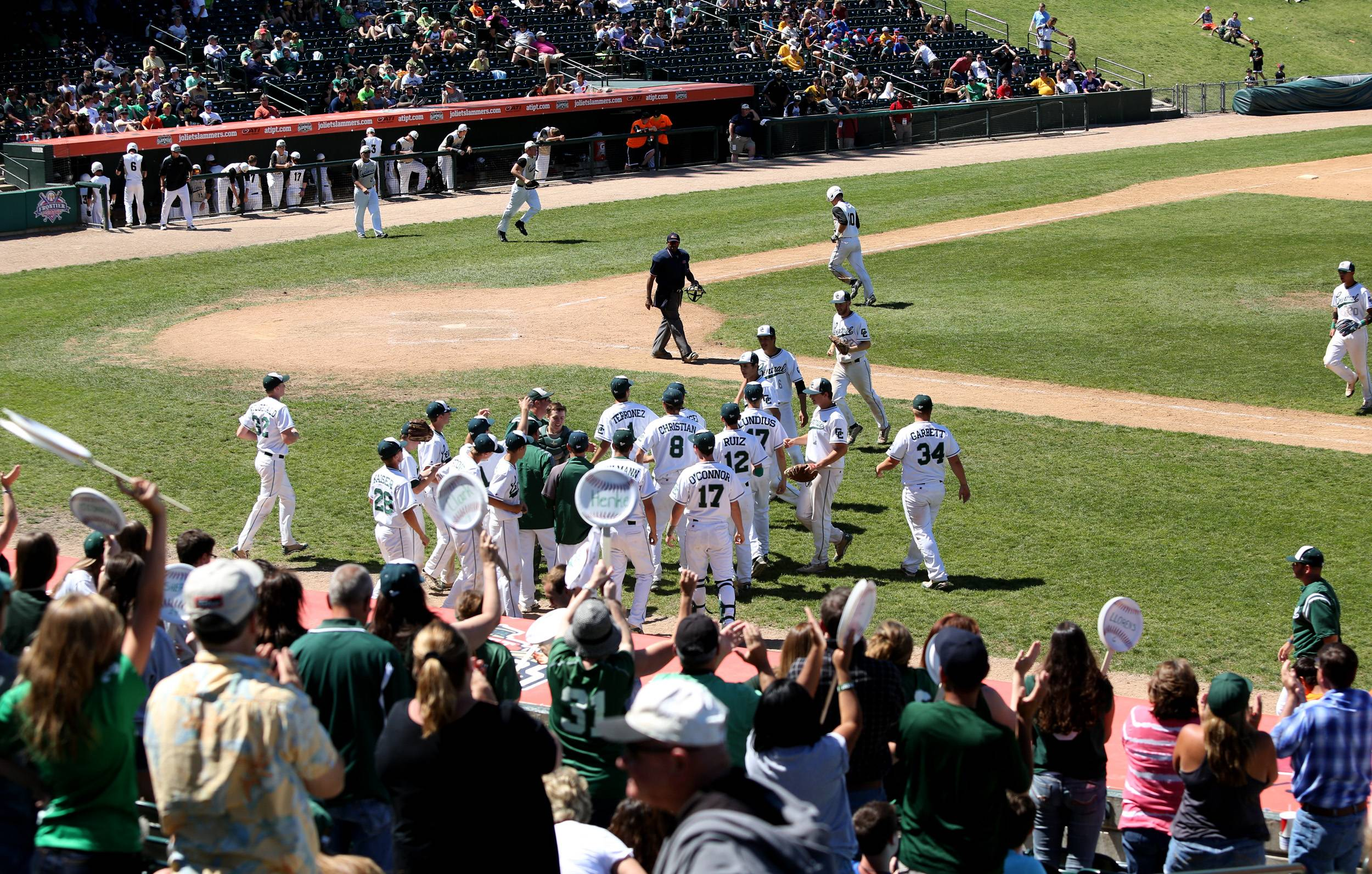 Grayslake Central celebrates pushing the game into extra innings against Springfield Sacred Heart-Griffin during the Class 3A baseball state semifinals at Silver Cross Field in Joliet.