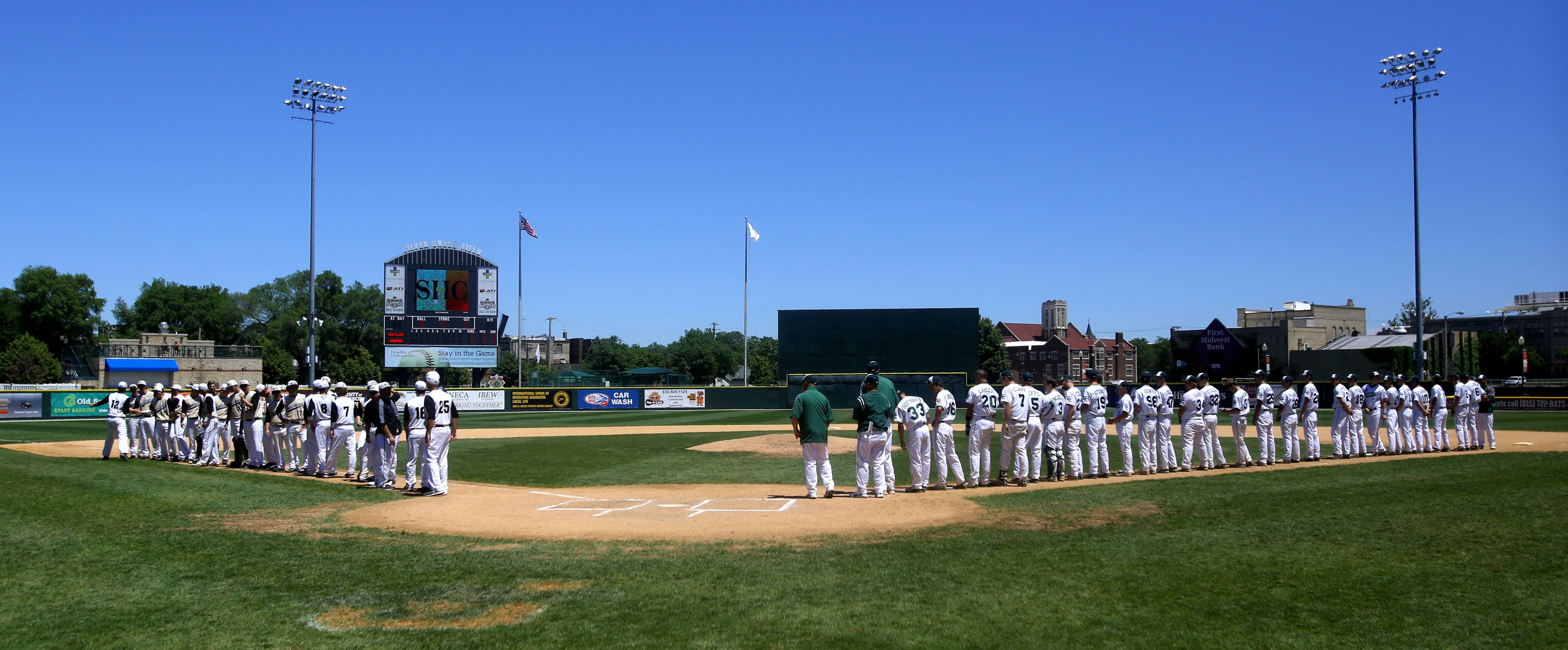 Pregame lineup introductions between Grayslake Central and Springfield Sacred Heart-Griffin during the Class 3A baseball state semifinals at Silver Cross Field in Joliet.