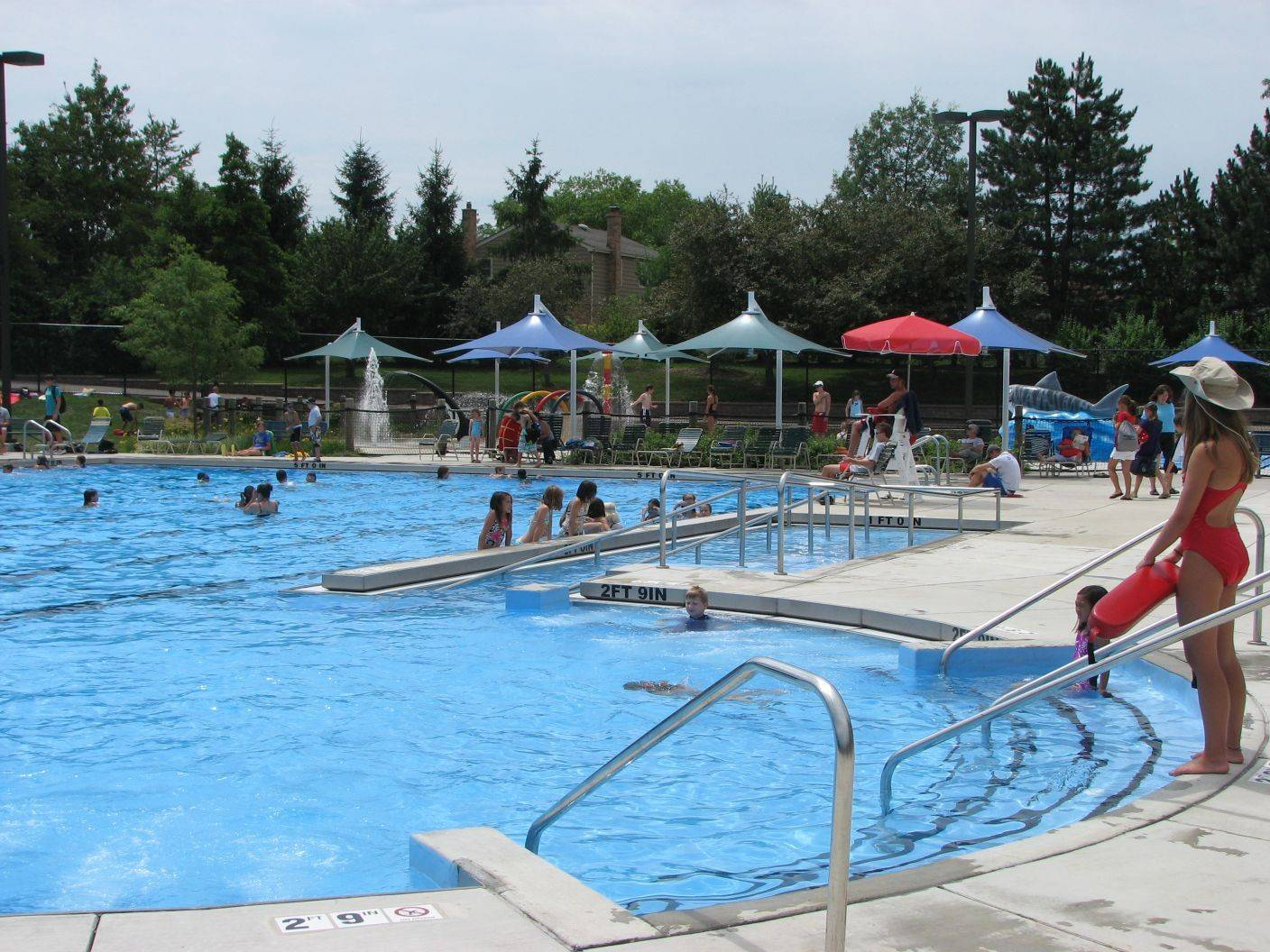 Birchwood Pool at 435 W. Illinois Ave., Palatine, features a tot pool, shark slide, a splash pad spray pool with geysers, dumping buckets, spray hoops and a water mushroom.