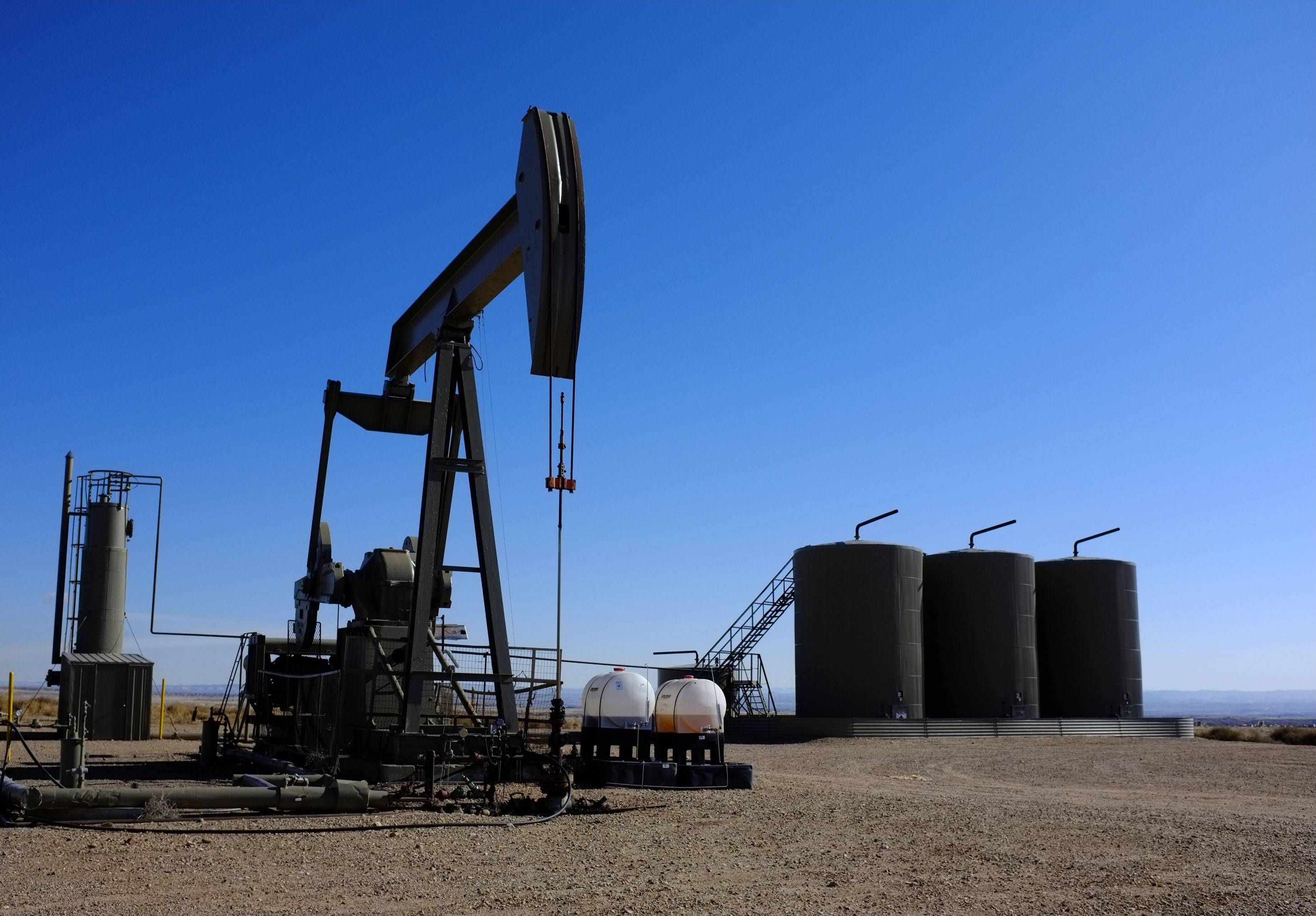 Equipment in the oil fields of the Uintah Basin, southeast of Vernal, Utah.