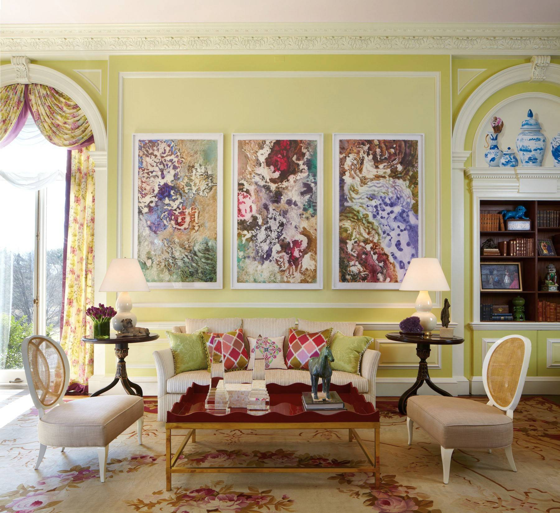 How to update a traditional setting: Blend contemporary ideas and art, then shake things up with a bit of whimsy.