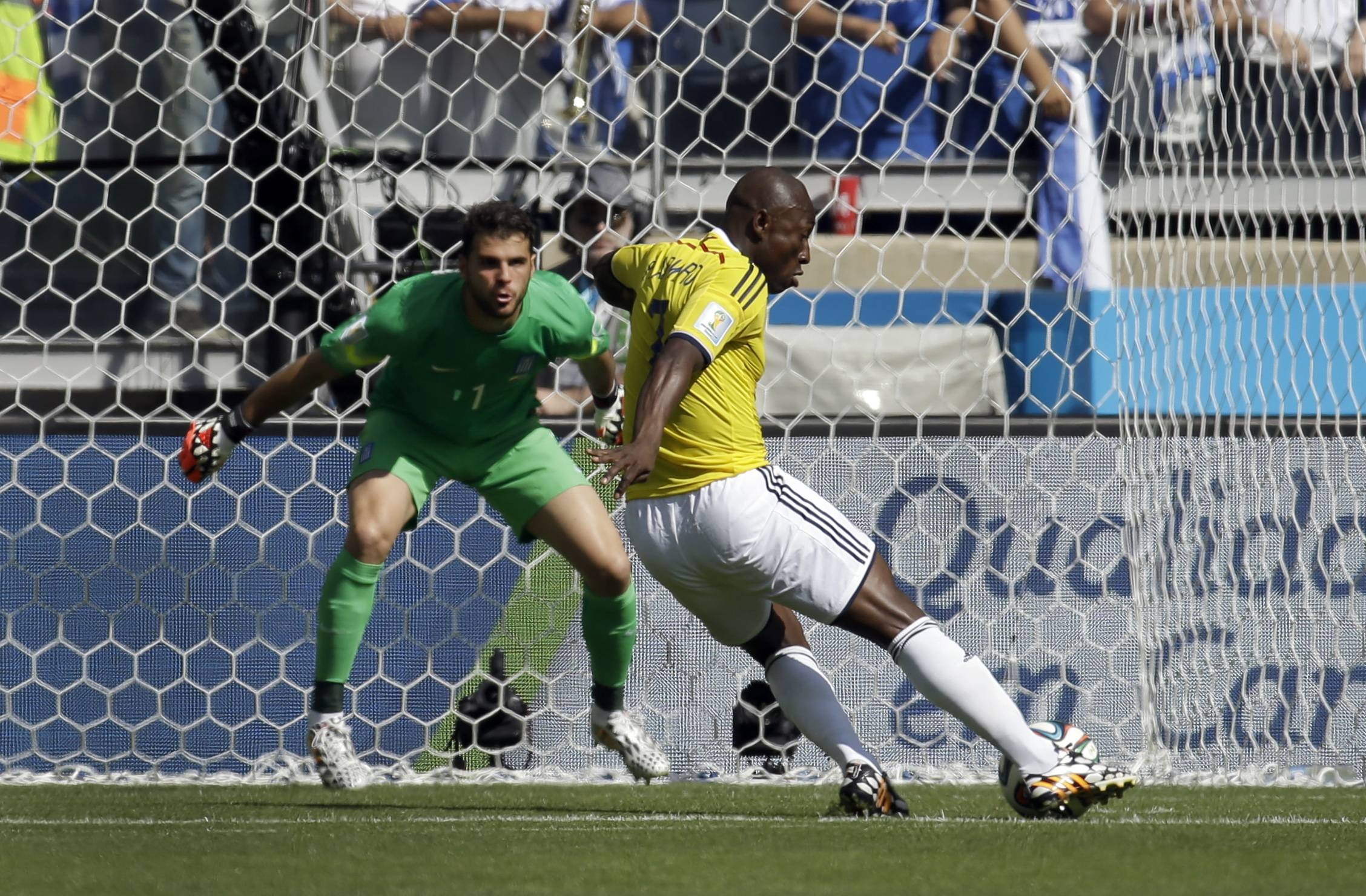Colombia started its first World Cup campaign in 16 years in dazzling fashion, beating Greece 3-0 to open Group C on Saturday in front of a big, loud pro-Colombian crowd. Left back Armero opened the scoring in the fifth minute when his deflected shot rolled past Greece goalkeeper Orestis Karnezis. Striker Teofilo Gutierrez poked in Colombia's second goal from a deflected corner in the 58th and James Rodriguez capped it off with a low shot in stoppage time after a slick backheel flick from Juan Cuadrado.