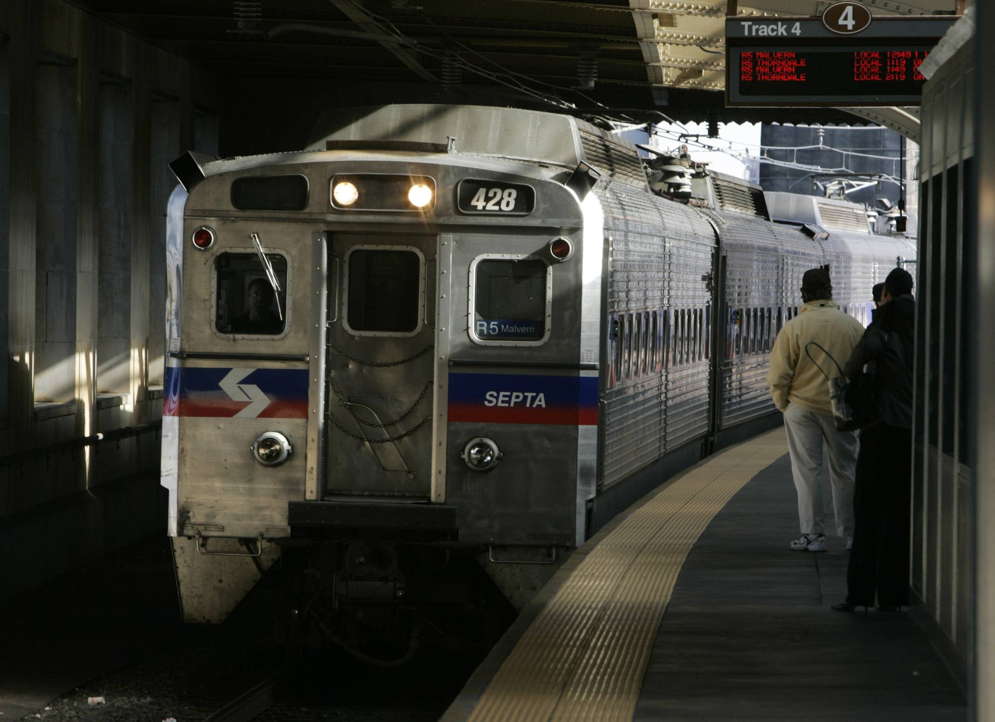 A SEPTA regional train, the R7, rolls into 30th Street station in Philadelphia in this file photo. Four hundred workers at a Philadelphia-area regional rail system went on strike Saturday morning June 14, shutting down 13 train lines that carry commuters to the suburbs and Philadelphia International Airport. Subways, trolleys and buses operated by SEPTA will continue to run.