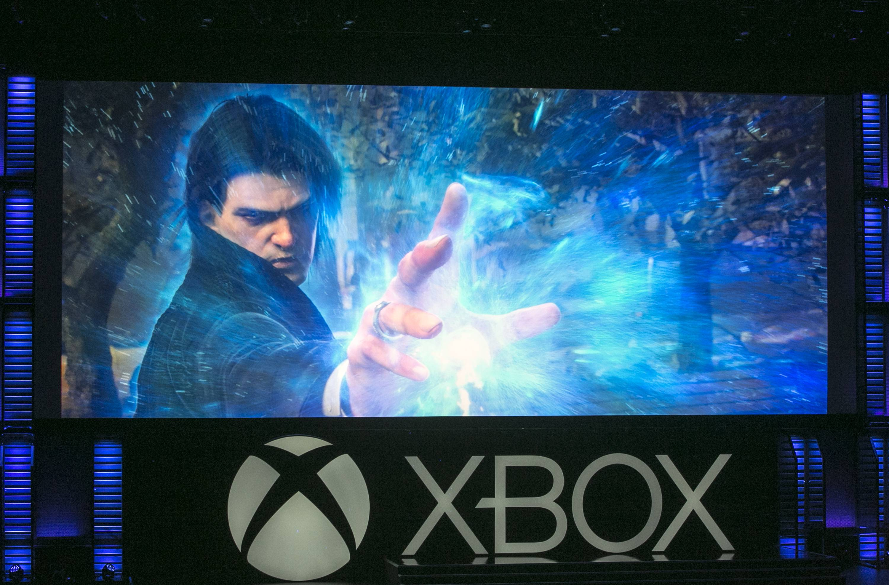 "Microsoft presents a reboot of the Xbox action game ""Phantom Dust,"" during a presentation ahead of the Electronic Entertainment Expo at the University of Southern California's Galen Center on Monday, June 9, 2014 in Los Angeles. With the launch of the Xbox One, PlayStation 4 and Wii U in the video game industry's rearview mirror, the spotlight at E3 is expected to shift back to games."