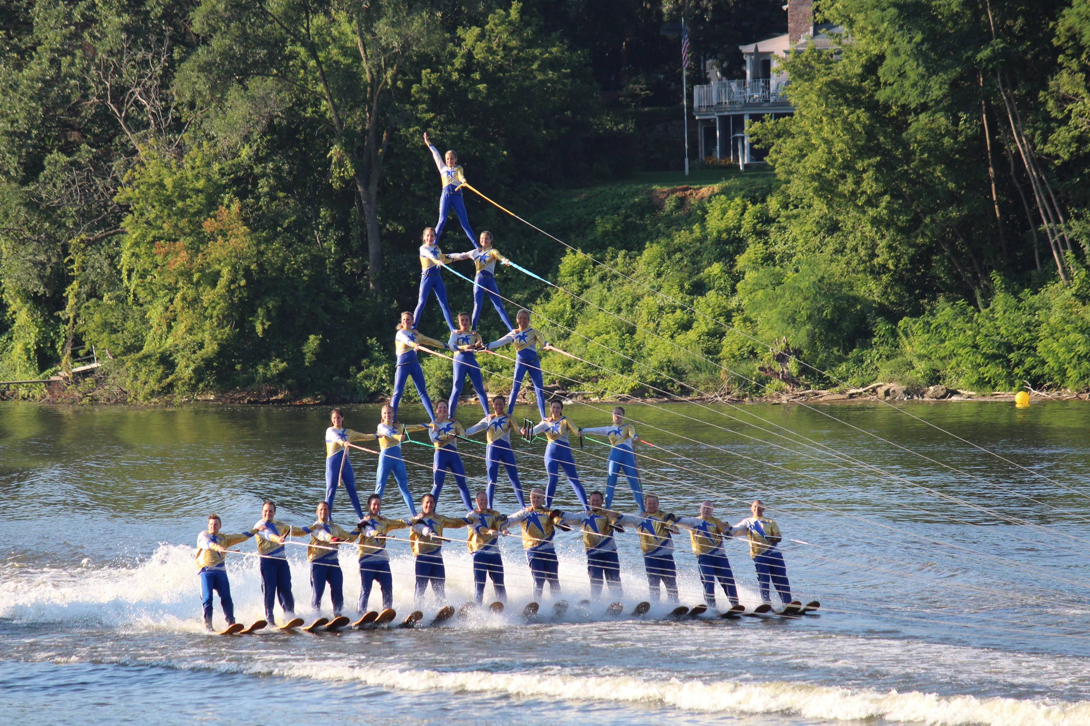 The national champion Rock Aqua Jays perform water ski shows at the team's stadium in Janesville, Wisconsin, Wednesdays and Sundays in June.