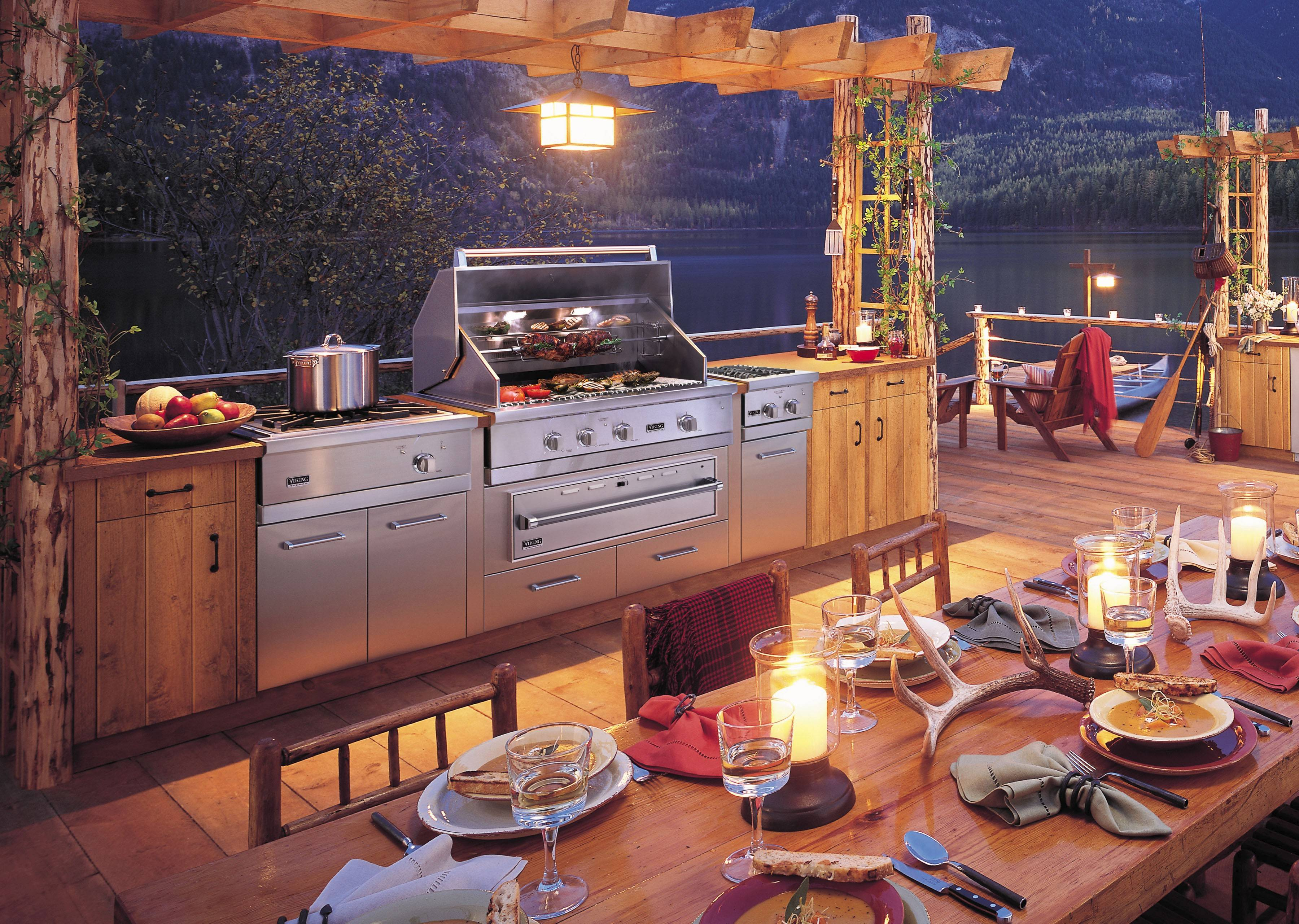 More bells, more whistles: New on the Viking Professional Outdoor 5 series grill are controls with LED lights for nighttime grilling. The units can stand alone or be built into a full outdoor kitchen.